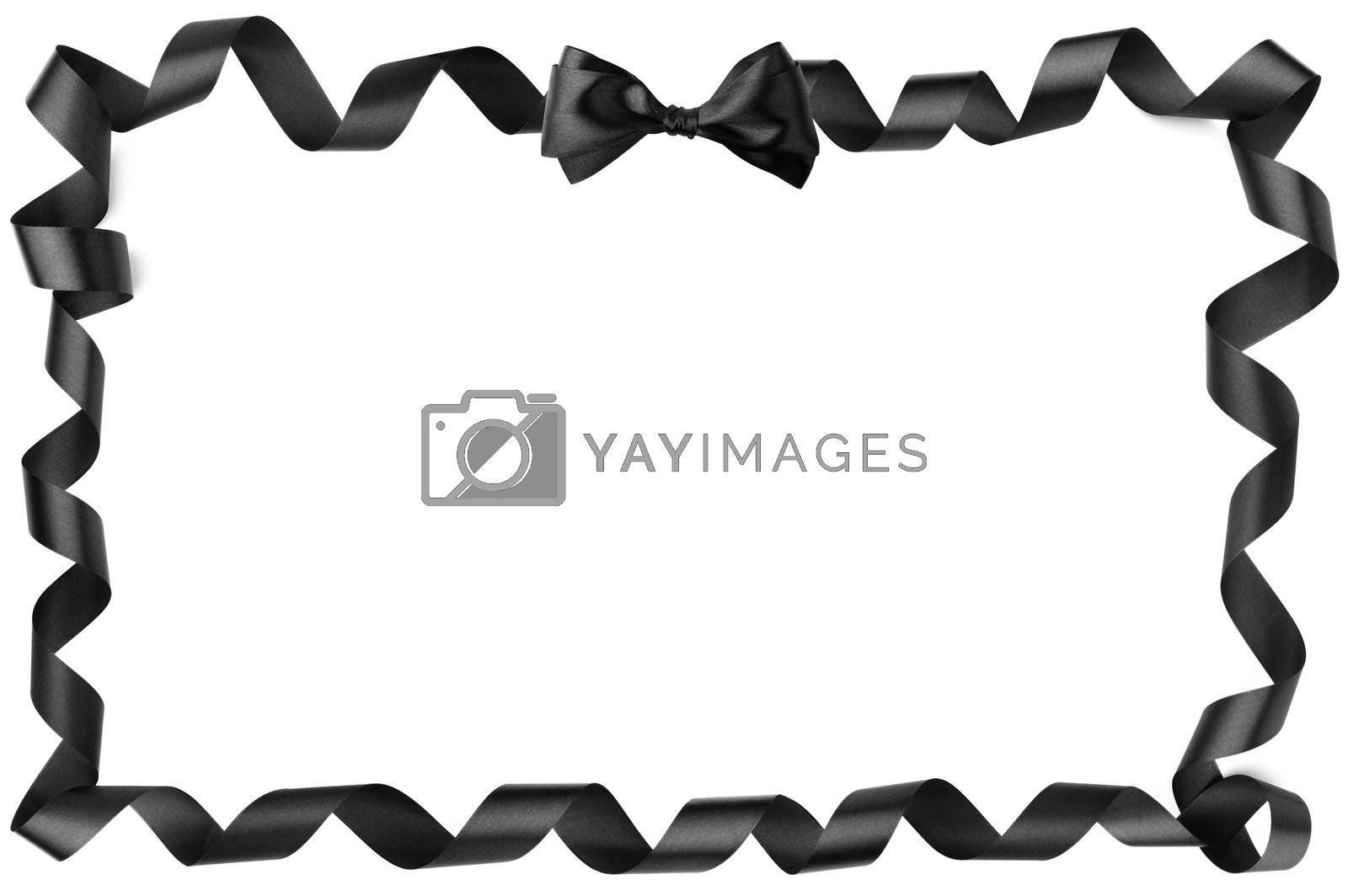 Black spiral curly silk ribbon and bow border frame corner design isolated on white background, Black friday gift sale design concept, copy space for text
