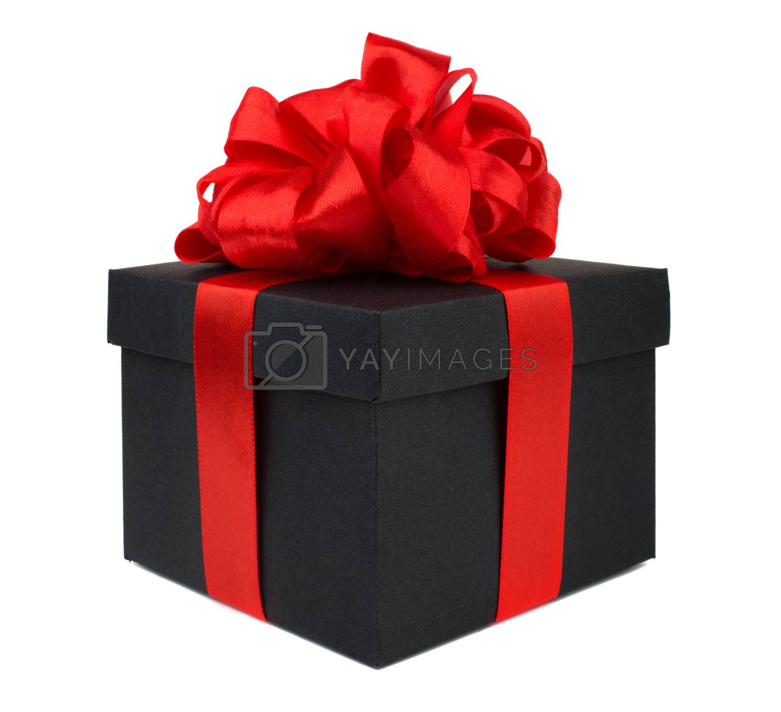 Black friday gift, paper box with red silk big round ribbon bow isolated on white background