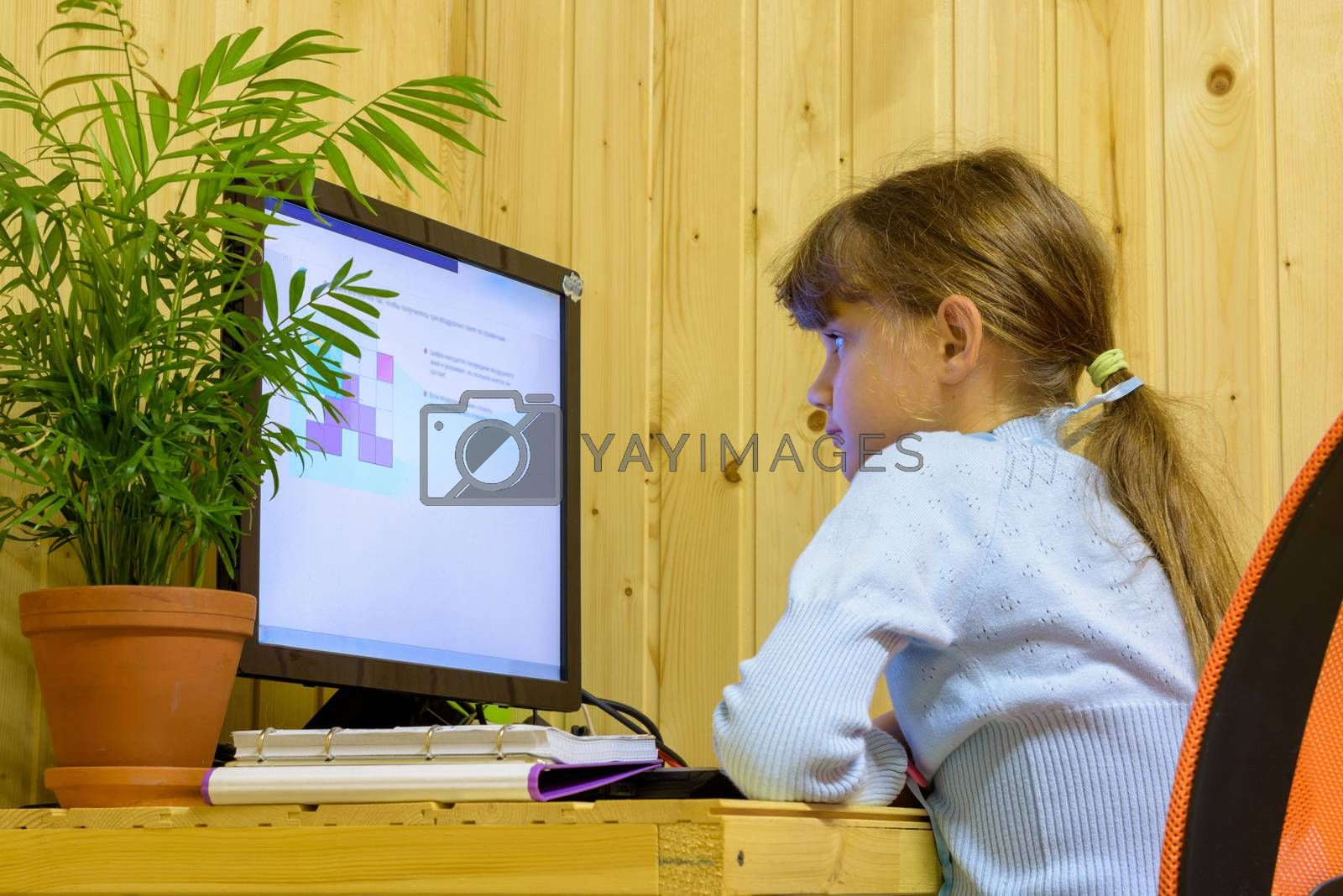 A girl solves a problem on a computer during distance learning