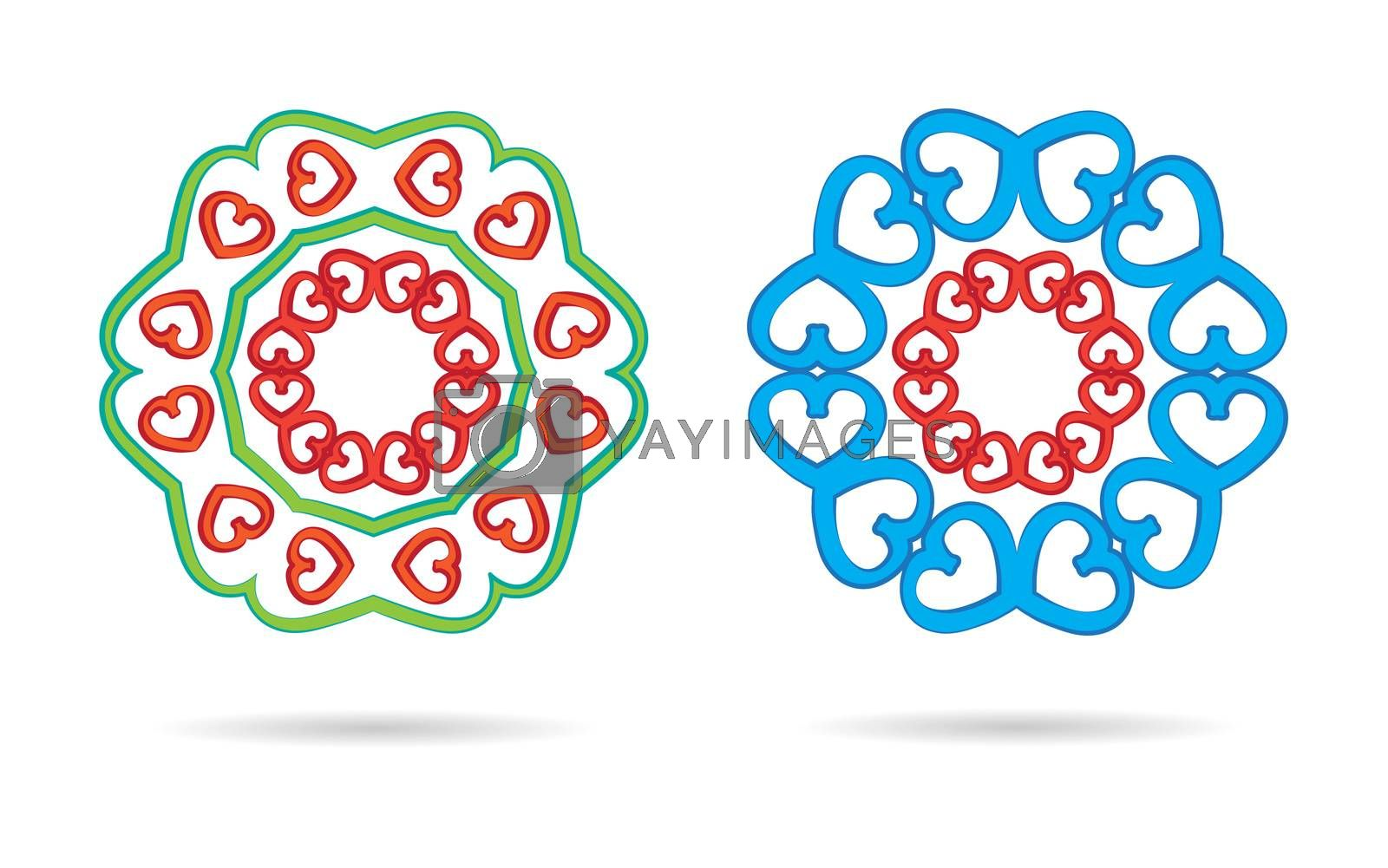 white background two abstract heart mandalas