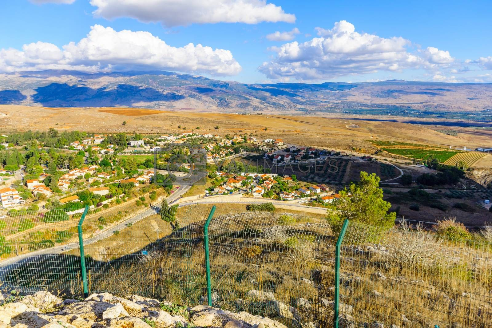 View of the town of Metula, and nearby landscape, Norther Israel, at the border with Lebanon