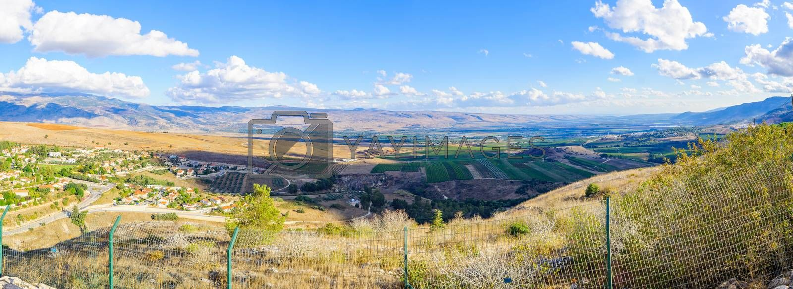 Panoramic view of the town of Metula, and nearby landscape, Norther Israel, at the border with Lebanon