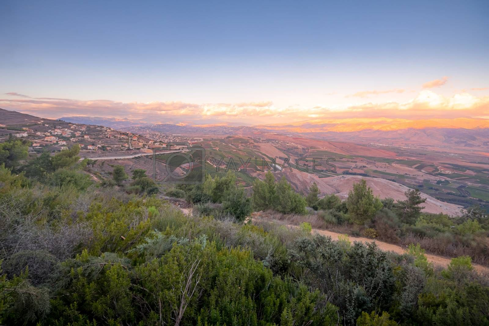 Sunset view of landscape at the border between northern Israel and Lebanon