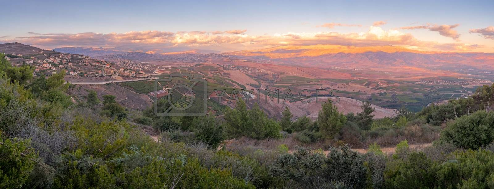 Panoramic sunset view of landscape at the border between northern Israel and Lebanon
