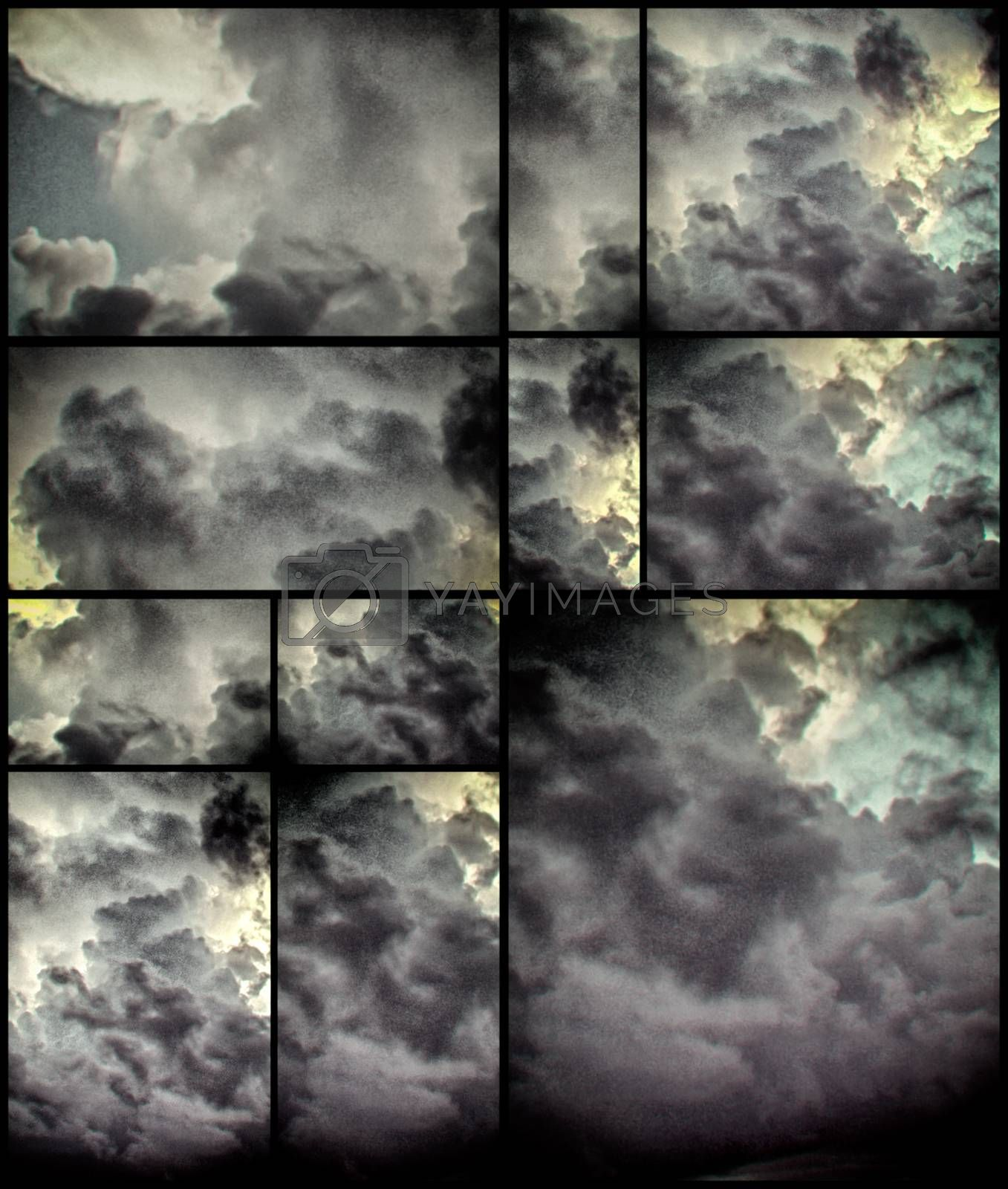 Abstract geometrc background with clouds. 3D rendering