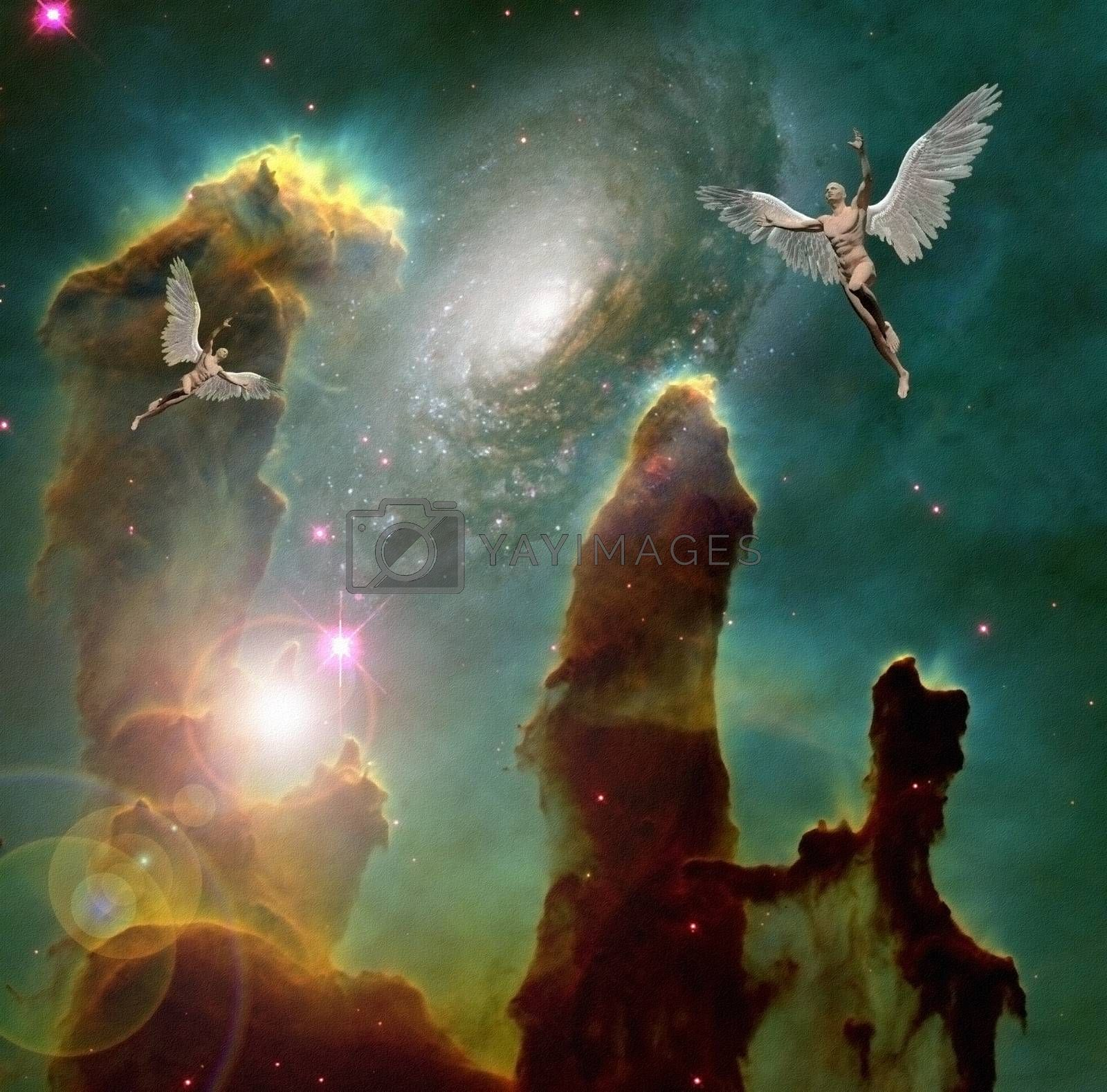 Royalty free image of Angels in deep space by applesstock