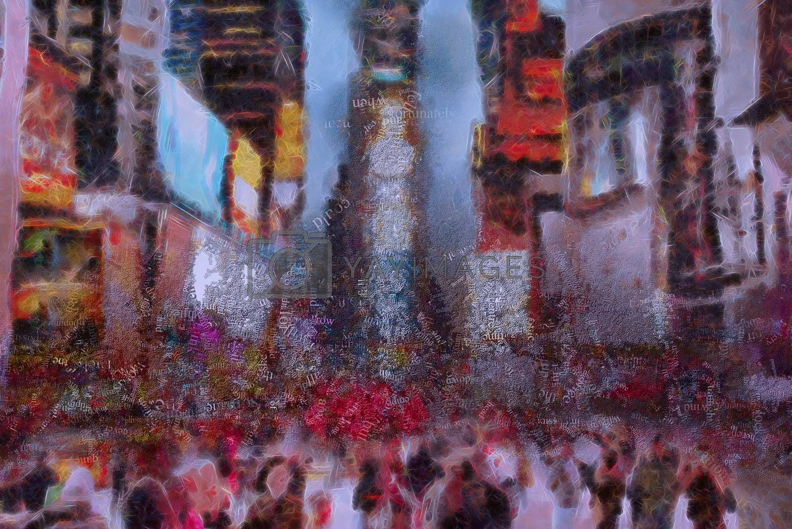 Abstract modern painting with words cloud. Times Square. 3D rendering