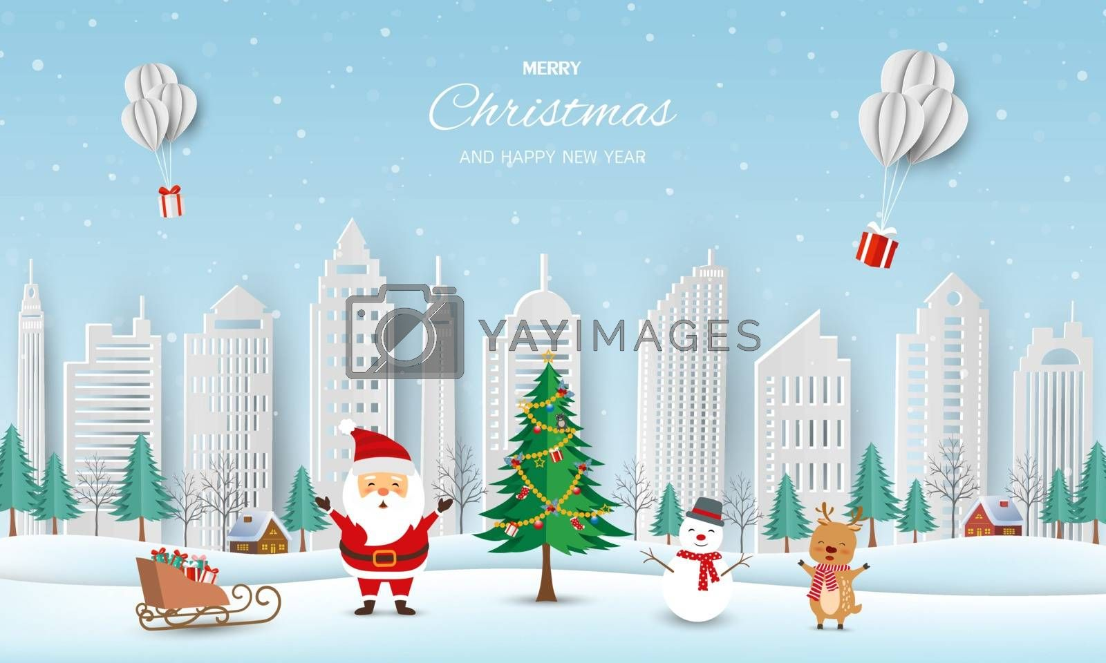 Merry Christmas and Happy new year greeting card,winter landscape with Santa Claus and friends send gift boxes by balloons by PIMPAKA