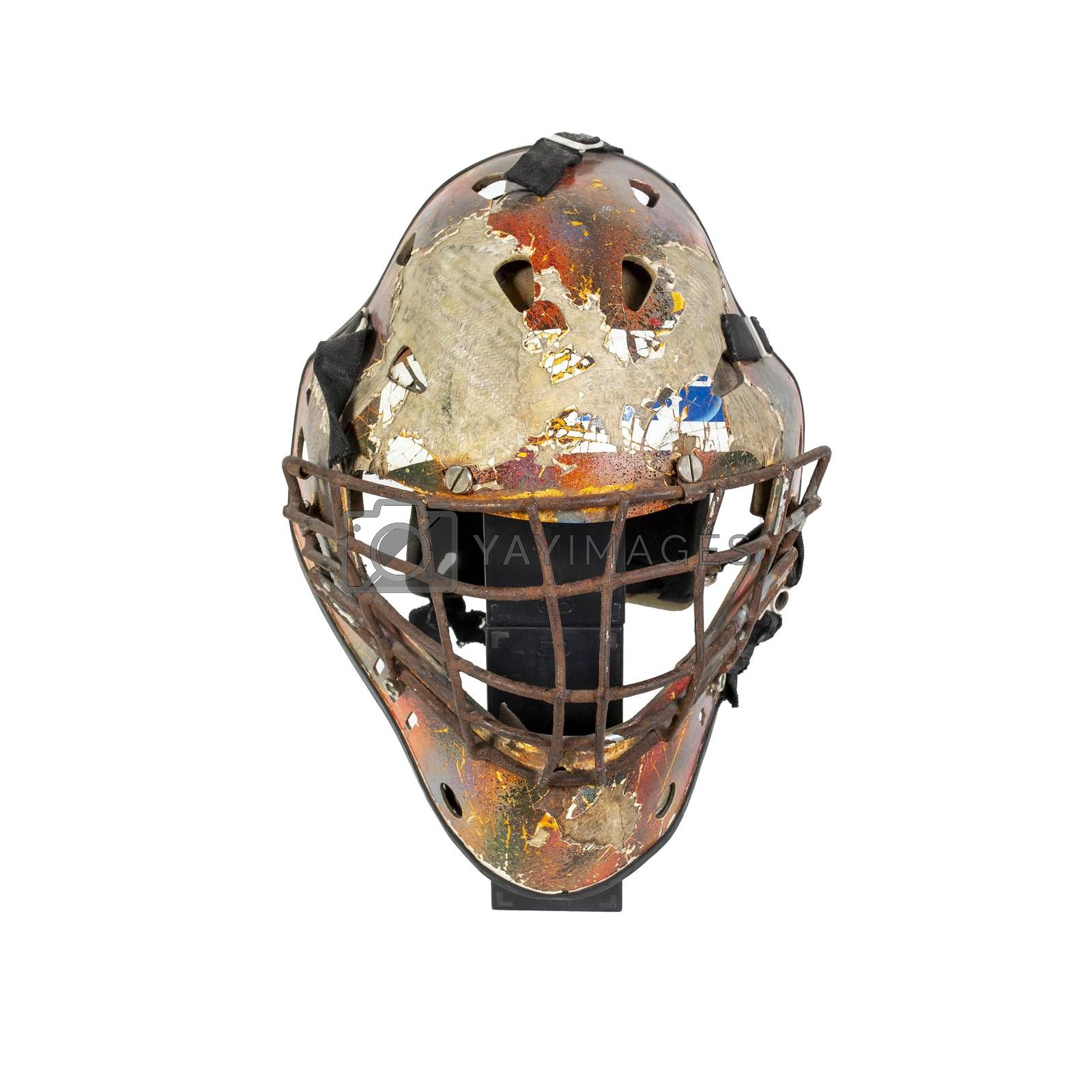 Old hockey mask for goalkeeper protection isolated on white background