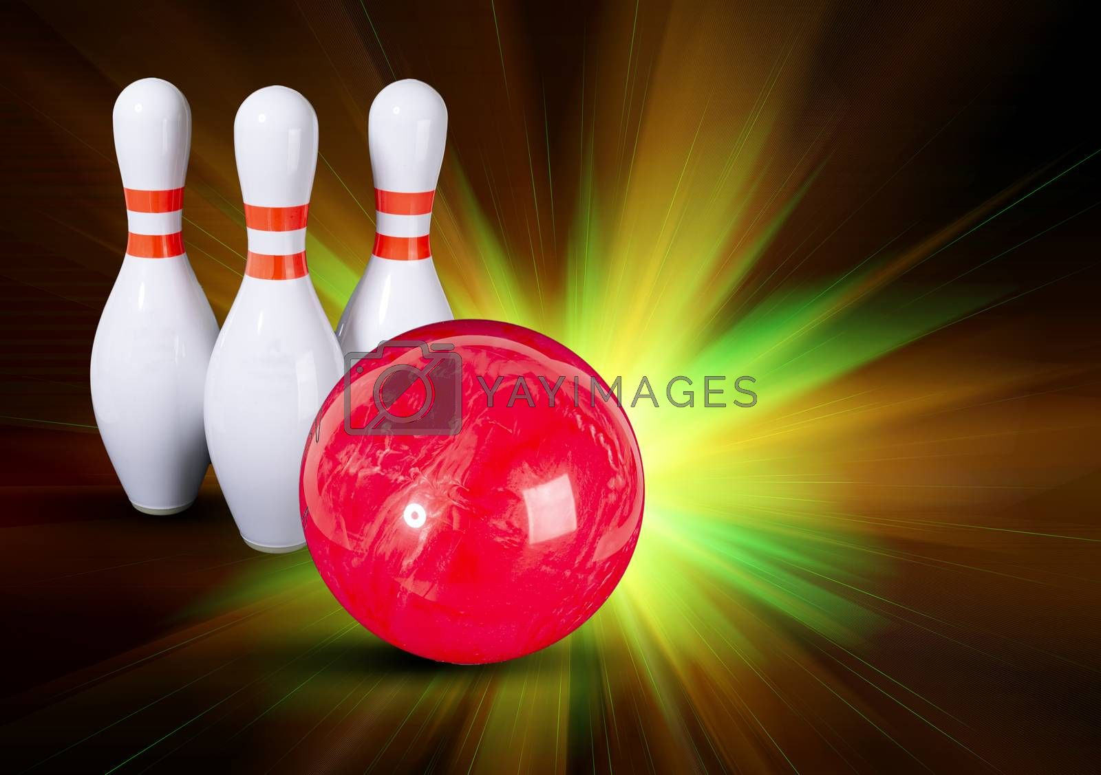 Bowling. Copy space. Bowling ball and bowling pins on a beautiful colorful rays background. Place for your inscription.