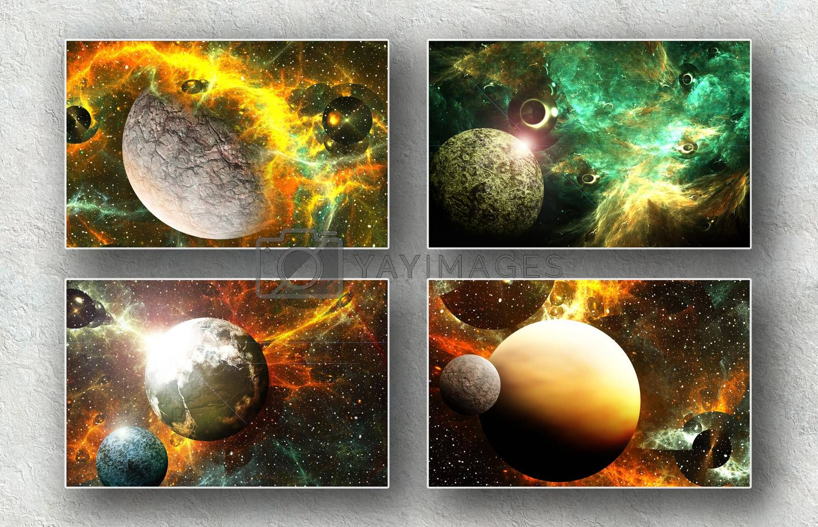 3D Image gallery with color digital art  elements ready for art printing  and house and office decoration