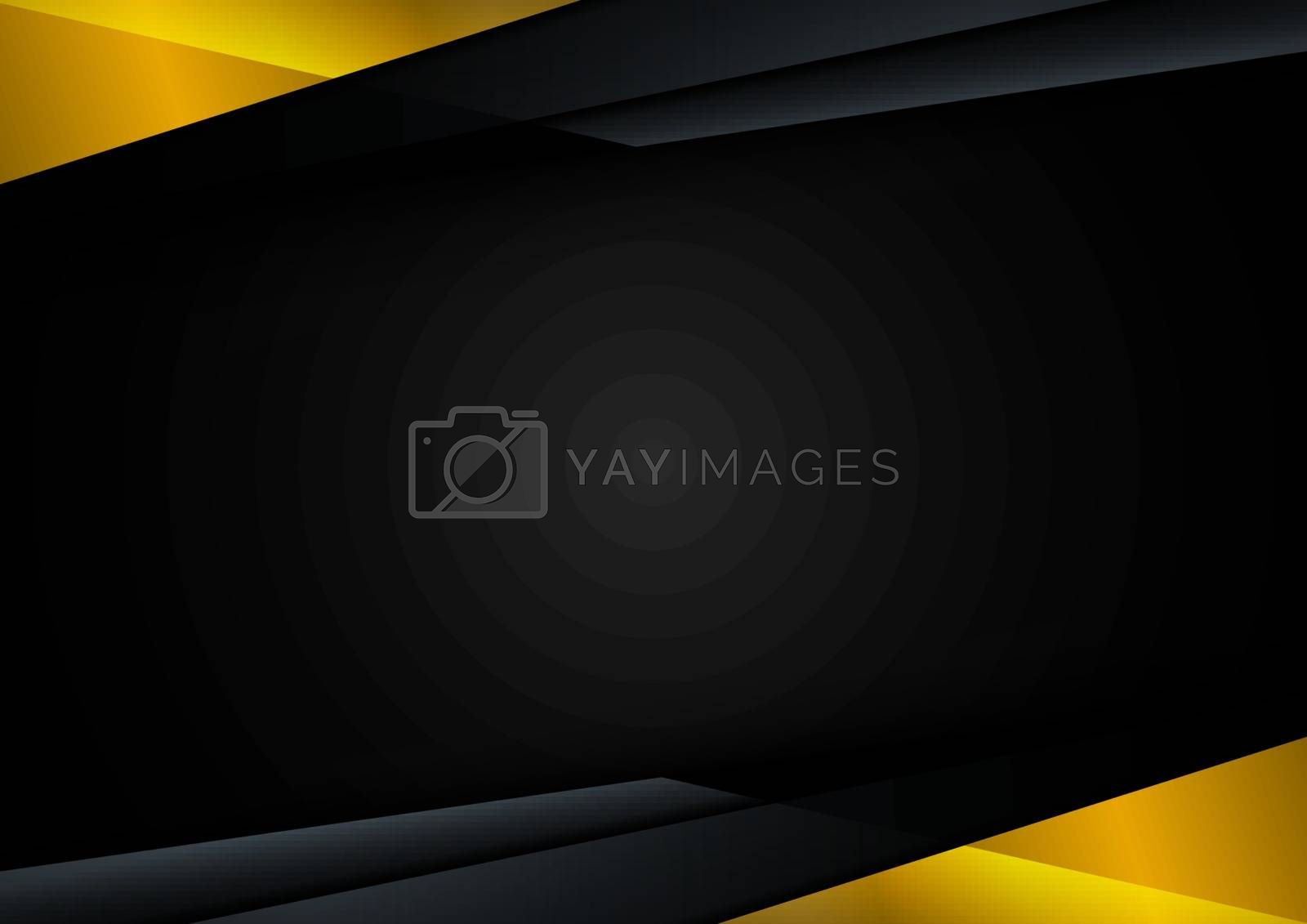 Template technology corporate concept abstract triangle geometric black and yellow on dark background with space for your text. Vector illustration
