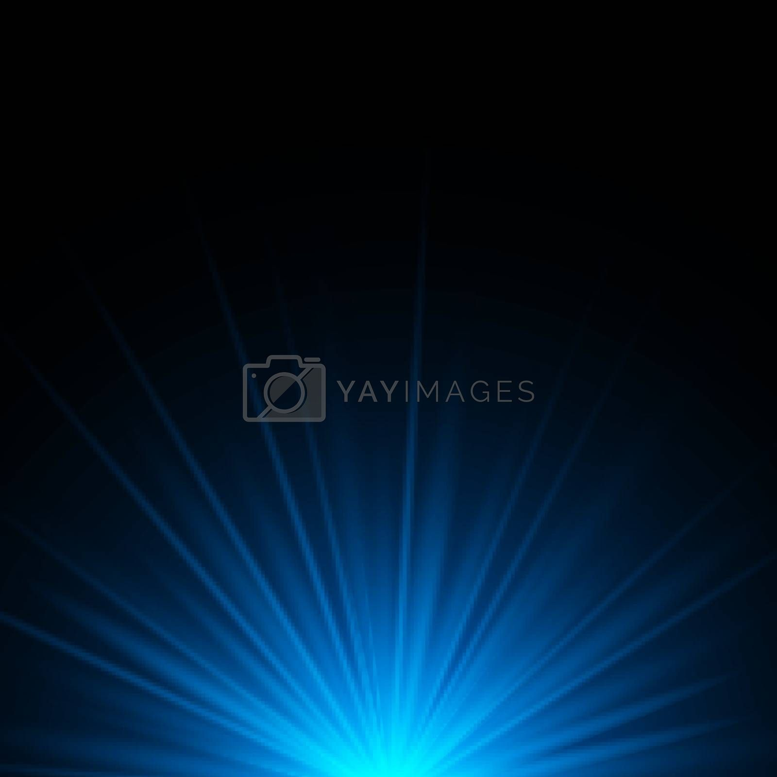 Blue rays rising on dark background with space for your text. Glowing light stars effect. Vector illustration