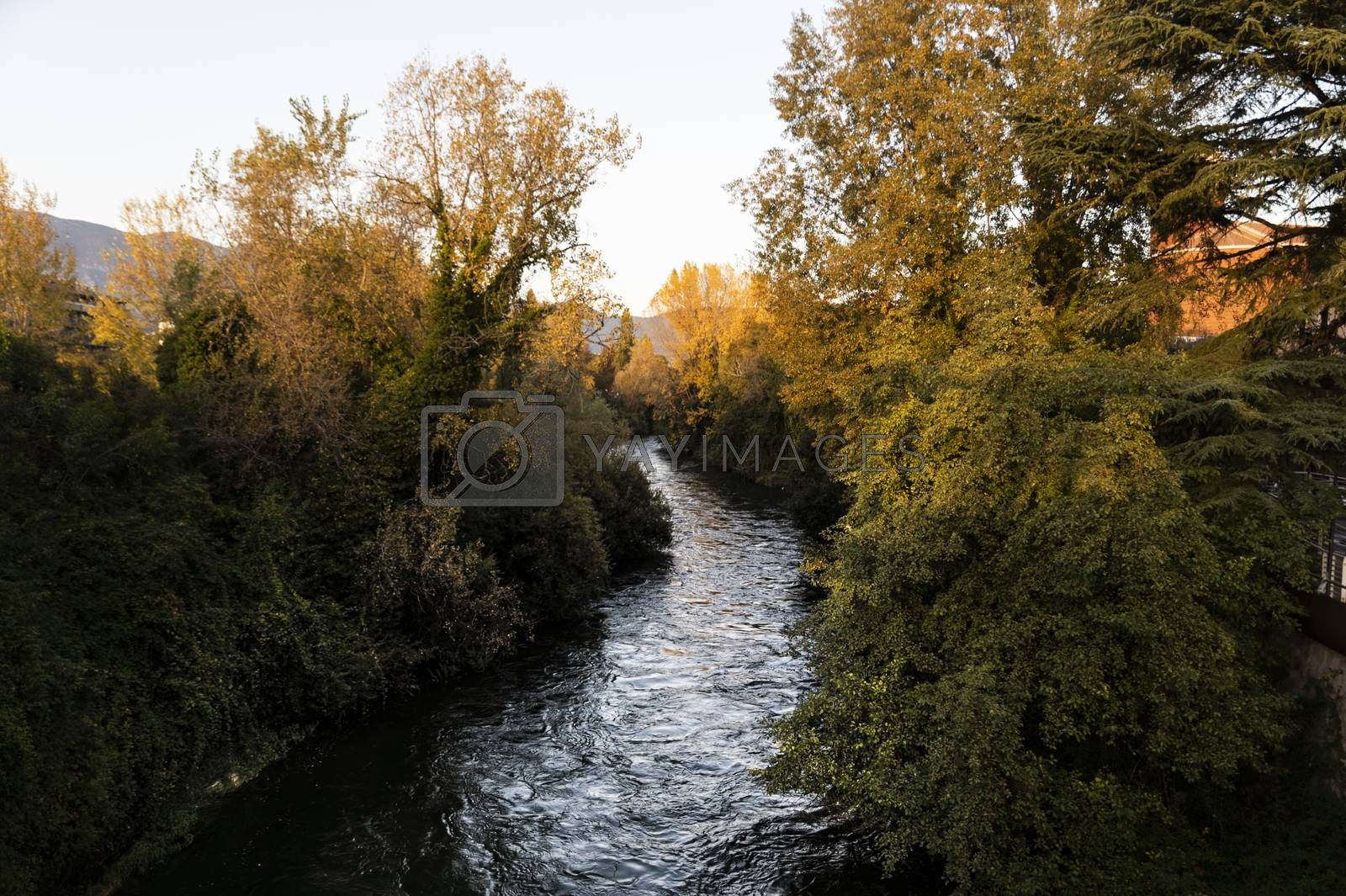 black river of terni that passes through the city coming from the marble waterfall