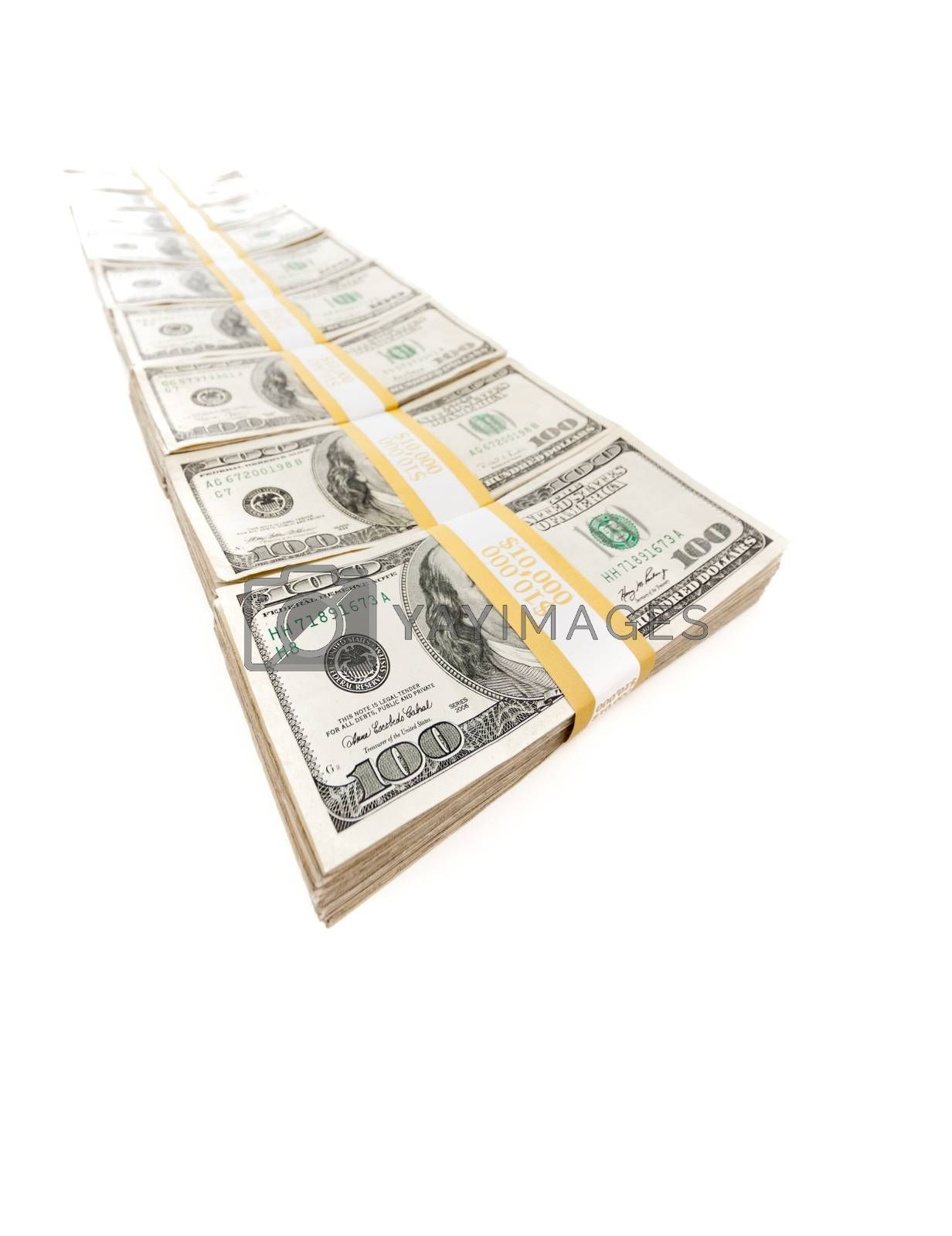 Row of Stacks of Hundred Dollar Bills Isolated on a White Background.