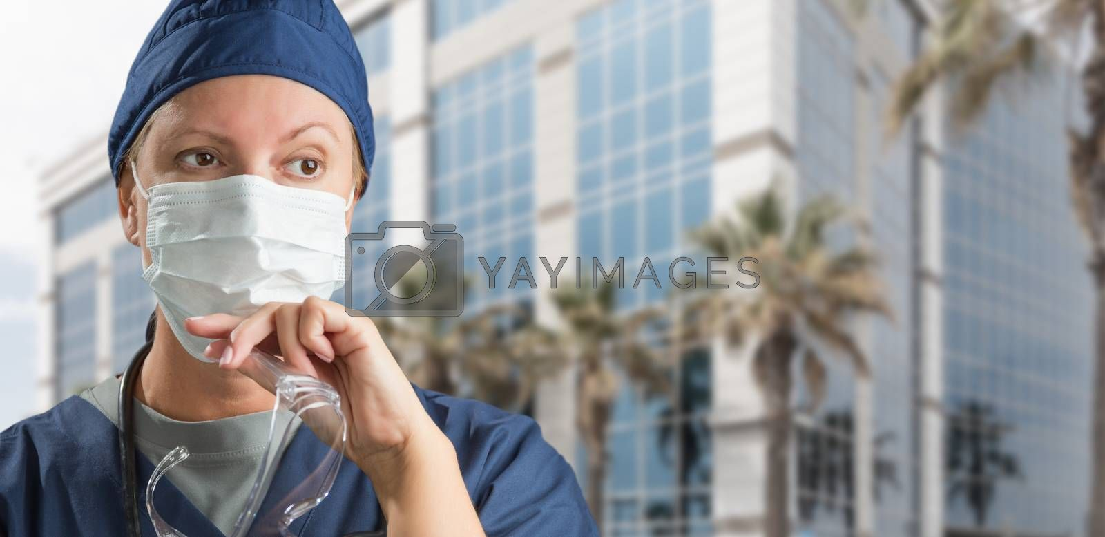 Female Doctor or Nurse Wearing Scrubs, Protective Face Mask and  by Feverpitched