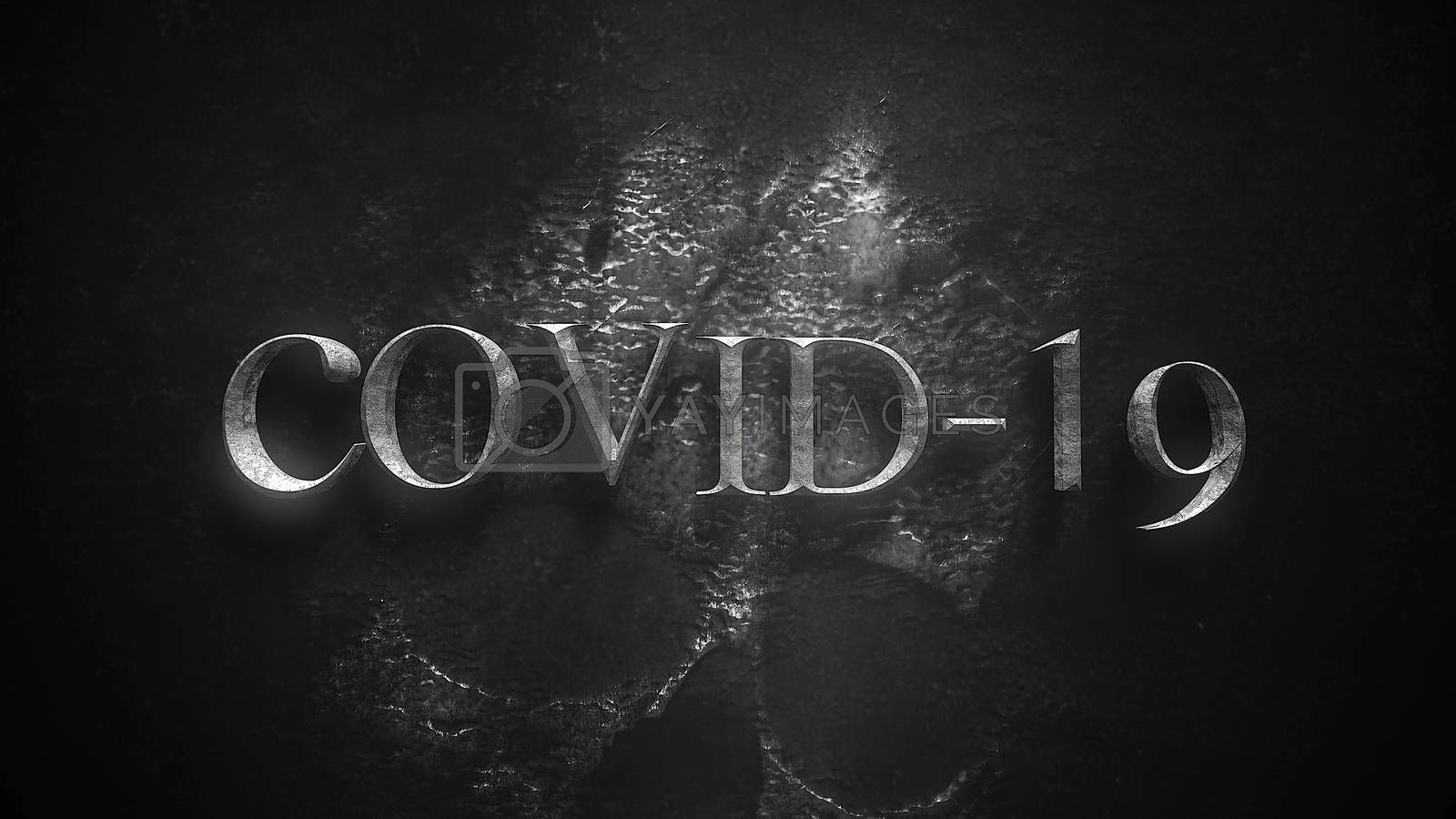 Closeup text Covid-19 and mystical horror background with dark skull, abstract backdrop. Luxury and elegant 3d illustration of horror theme