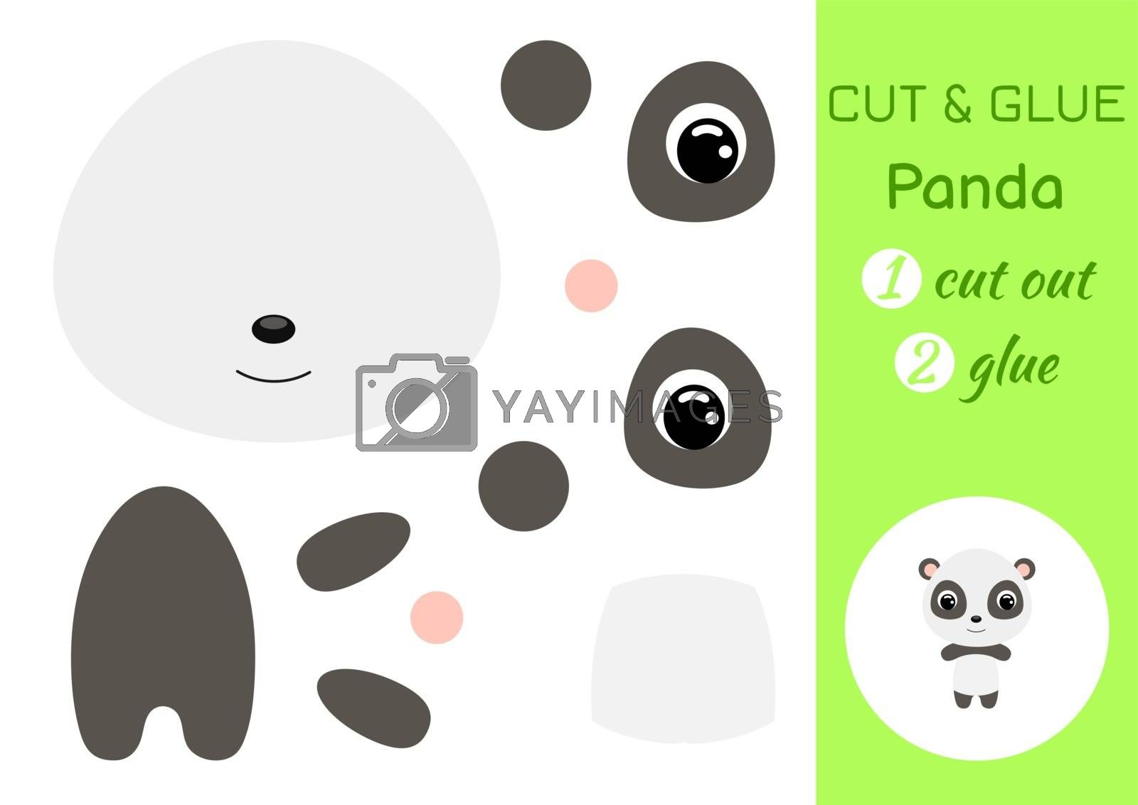 Cut and glue baby panda. Education developing worksheet. Color paper game for preschool children. Cut parts of image and glue on paper. Cartoon character. Colorful vector stock illustration.