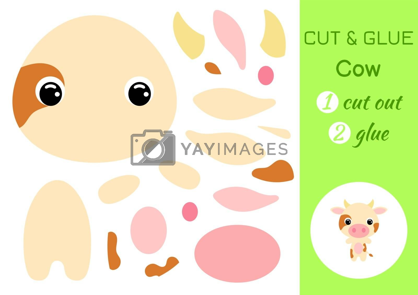 Cut and glue baby cow. Education developing worksheet. Color paper game for preschool children. Cut parts of image and glue on paper. Cartoon character. Colorful vector stock illustration.