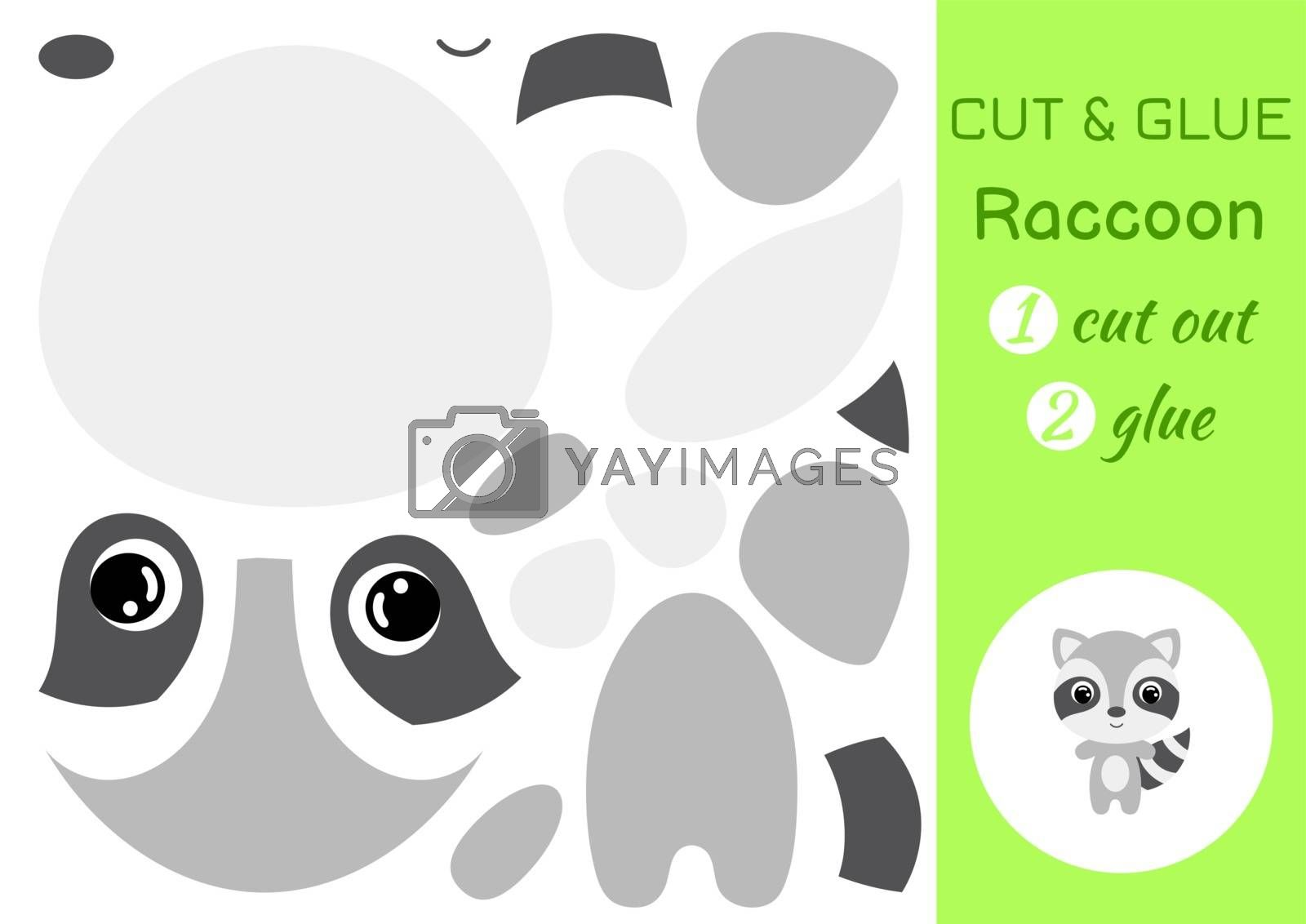 Cut and glue baby raccoon. Education developing worksheet. Color paper game for preschool children. Cut parts of image and glue on paper. Cartoon character. Colorful vector stock illustration.