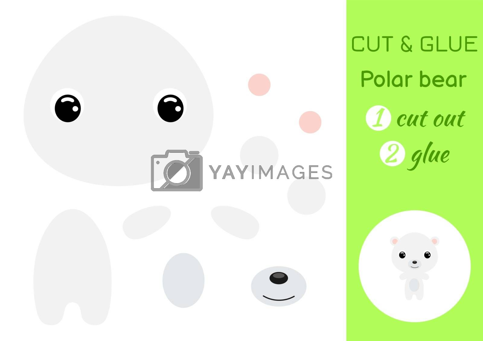 Cut and glue baby polar bear. Education developing worksheet. Color paper game for preschool children. Cut parts of image and glue on paper. Cartoon character. Colorful vector stock illustration.