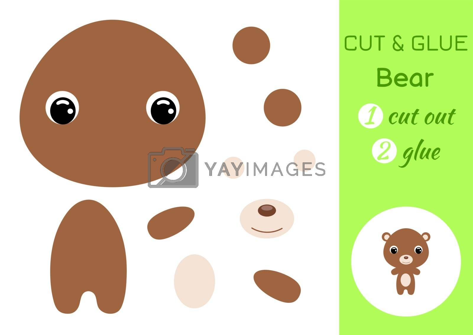 Cut and glue baby bear. Education developing worksheet. Color paper game for preschool children. Cut parts of image and glue on paper. Cartoon character. Colorful vector stock illustration.