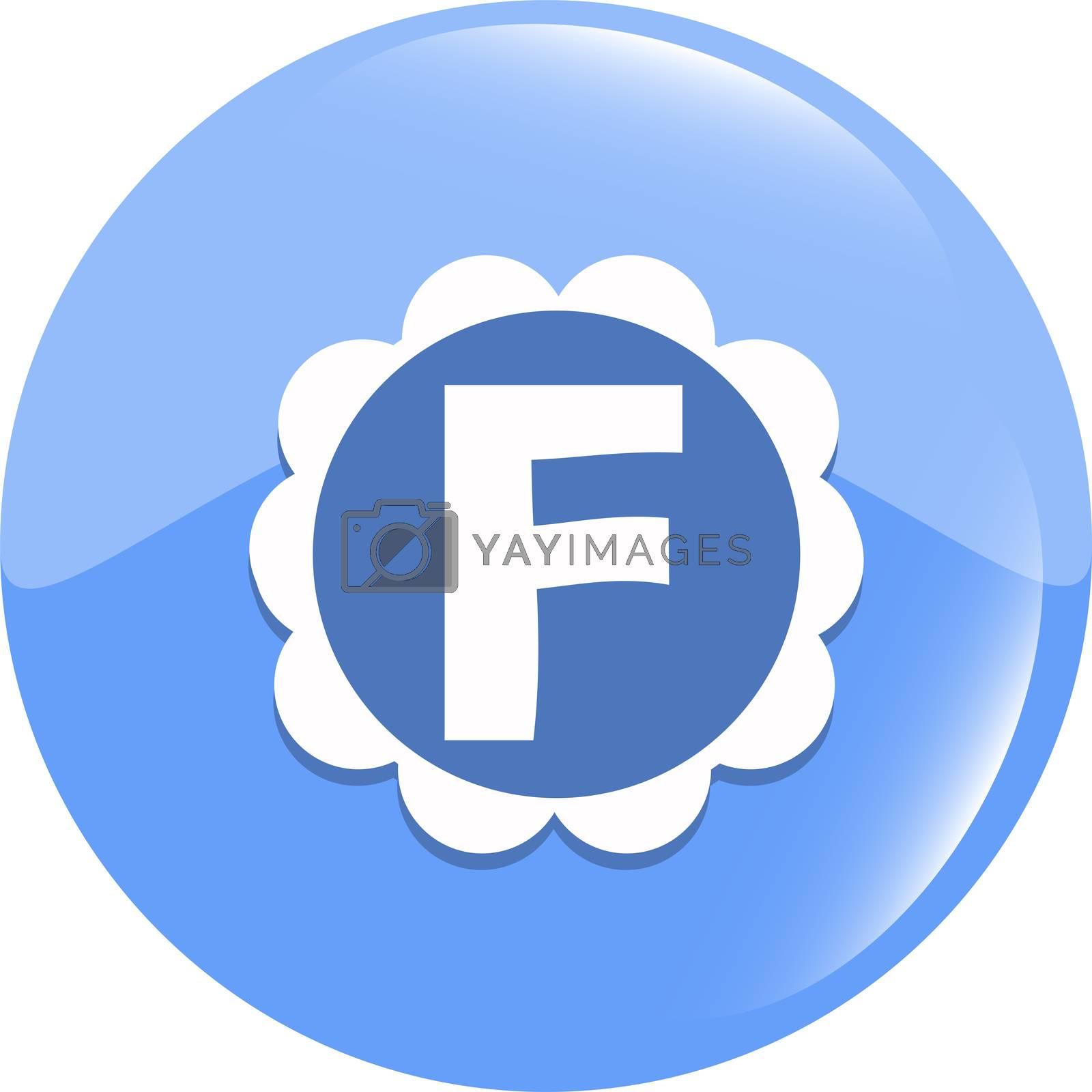 letter F in the web button. Letter F icon symbol design