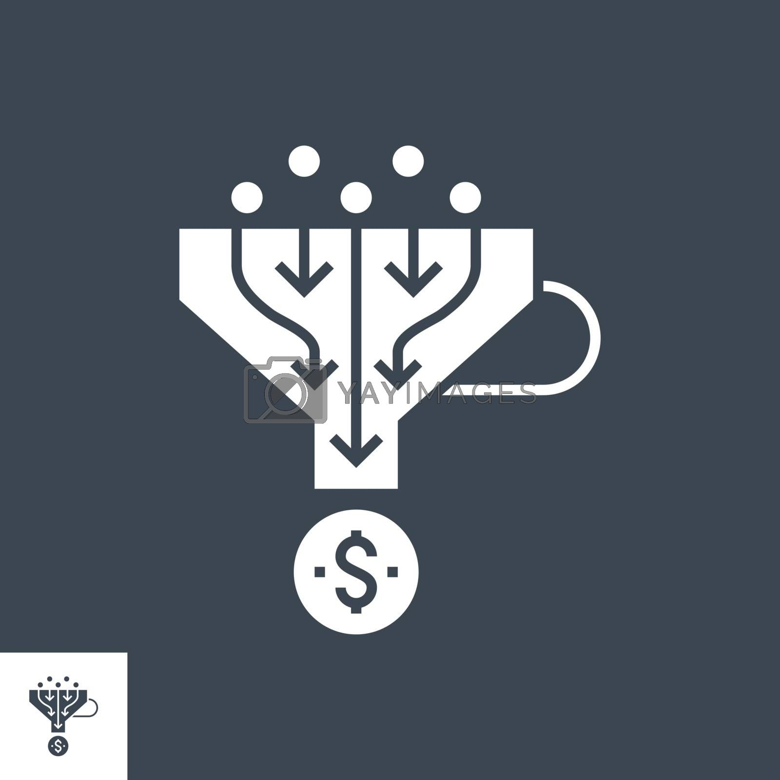 Sales Funnel Related Vector Glyph Icon. Isolated on Black Background. Vector Illustration.