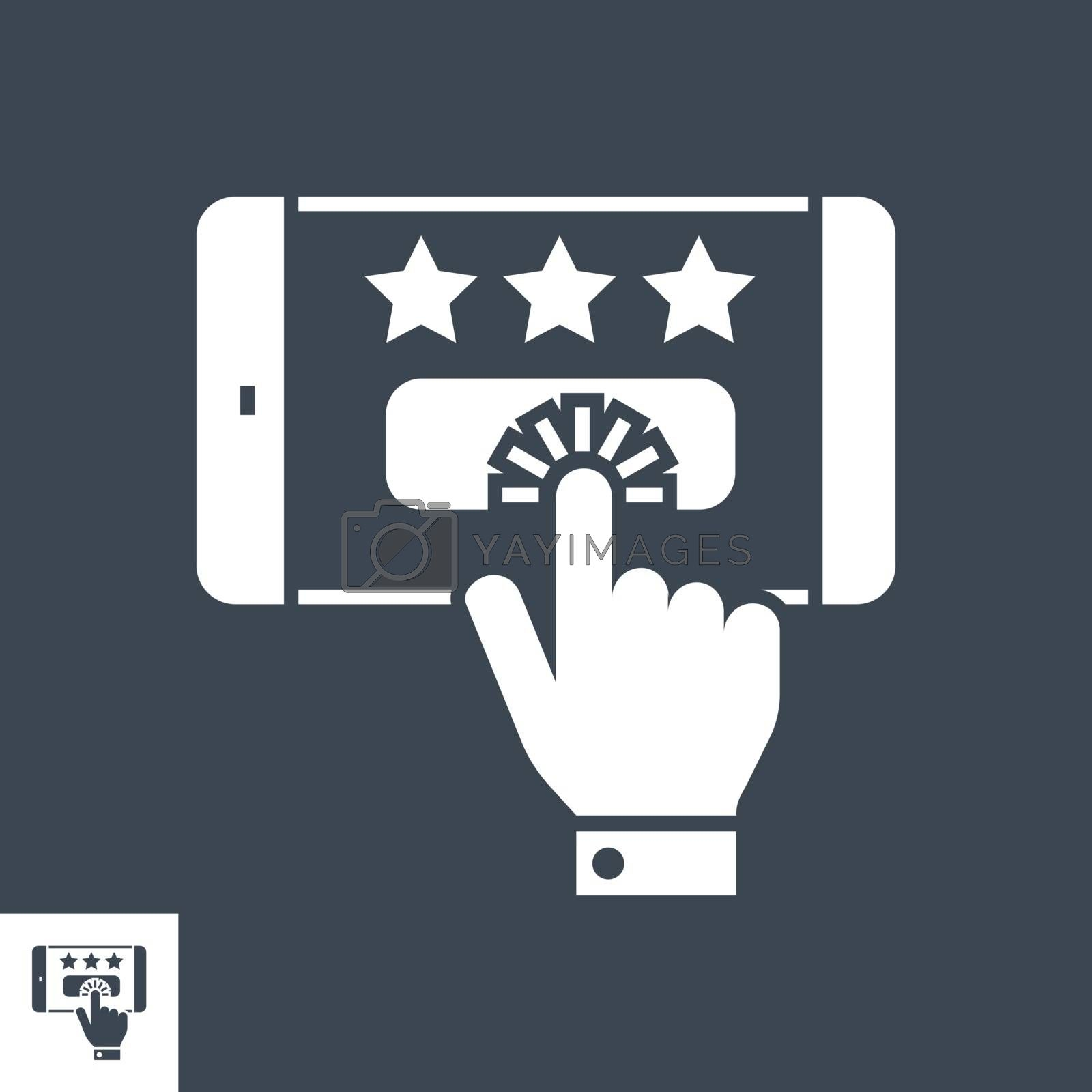 Customer Reviews Related Vector Glyph Icon. Isolated on Black Background. Vector Illustration.