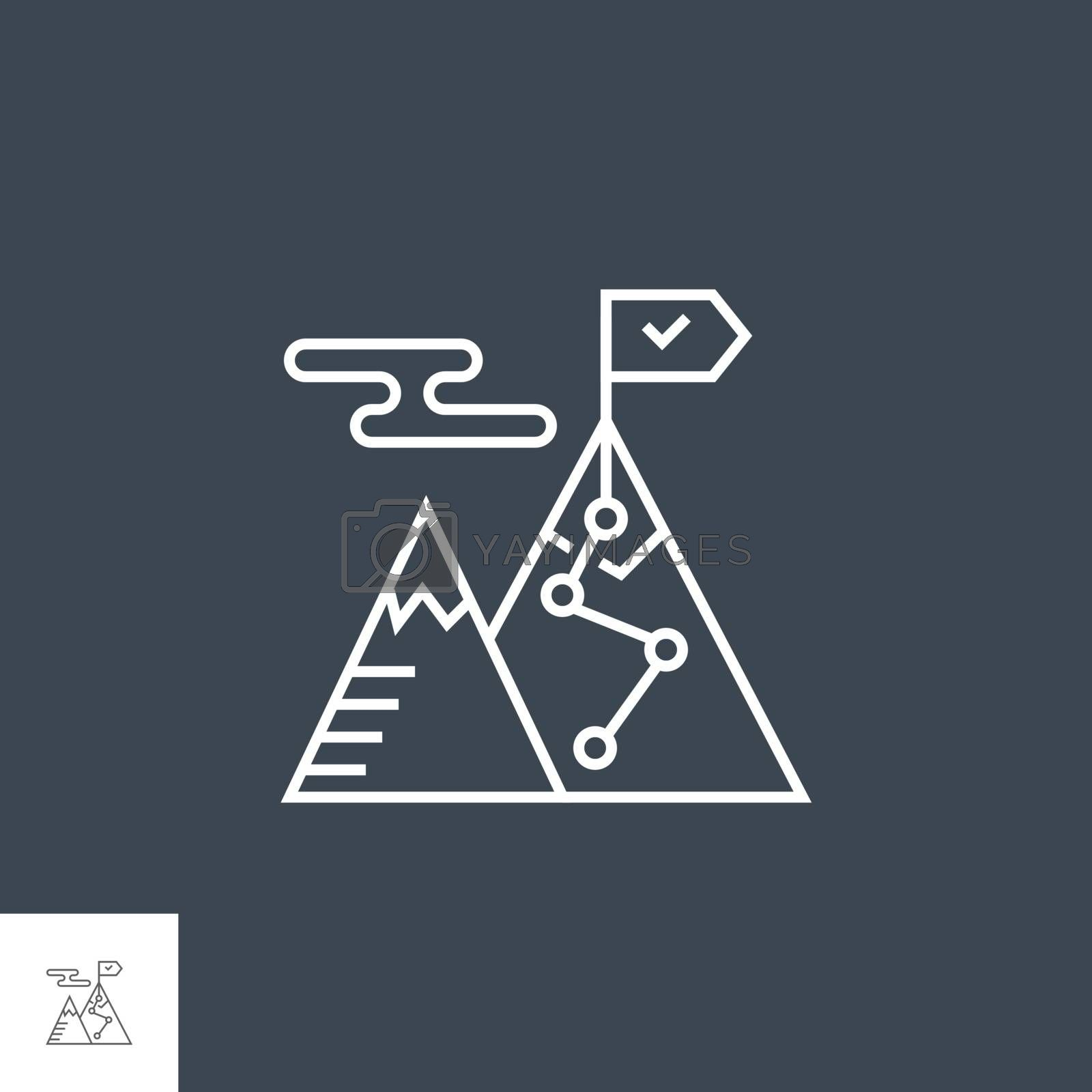 Strategy Related Vector Thin Line Icon. Isolated on Black Background. Editable Stroke. Vector Illustration.