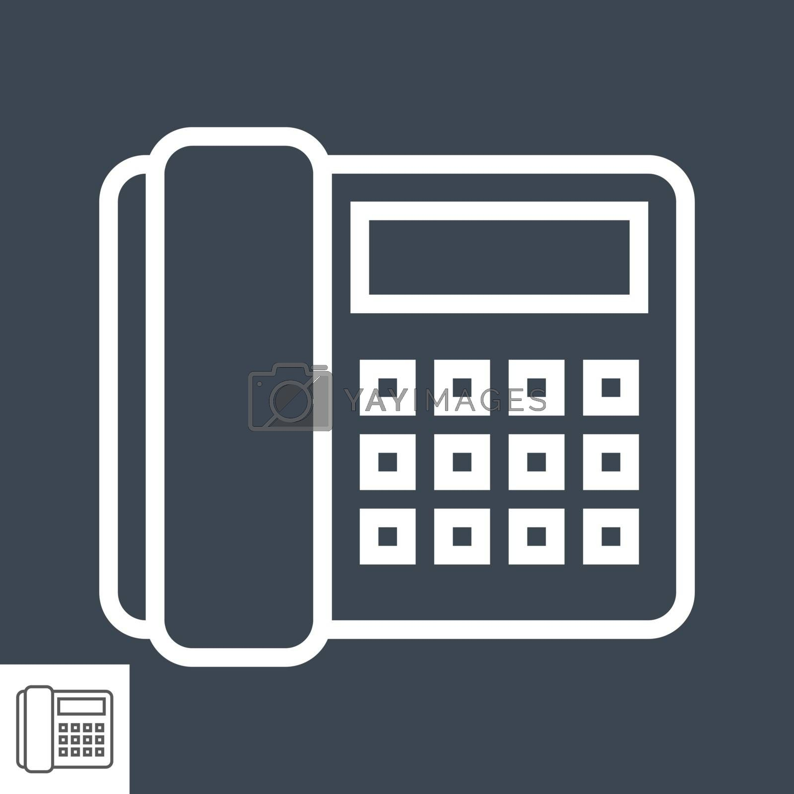 Office Phone Icon. Office Phone Related Vector Line Icon. Isolated on Black Background. Editable Stroke.