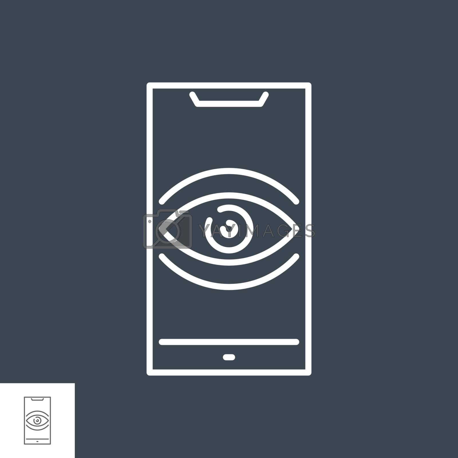 Surveillance smartphone related vector thin line icon. Eye on smartphone screen symbolizing user tracking. Isolated on black background. Editable stroke. Vector illustration.