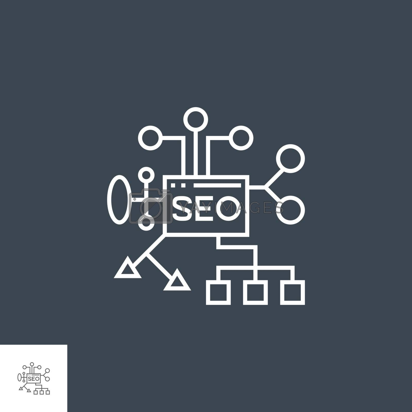 SEO Planing Related Vector Thin Line Icon. Isolated on Black Background. Editable Stroke. Vector Illustration.