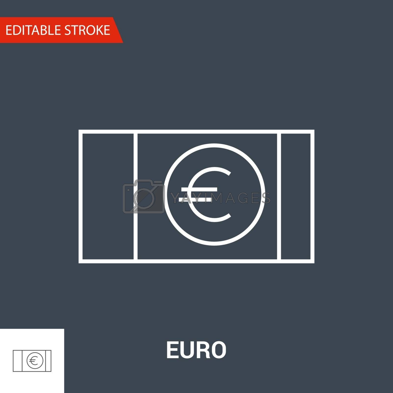 Euro Icon. Thin Line Vector Illustration - Adjust stroke weight - Expand to any Size - Easy Change Colour - Editable Stroke
