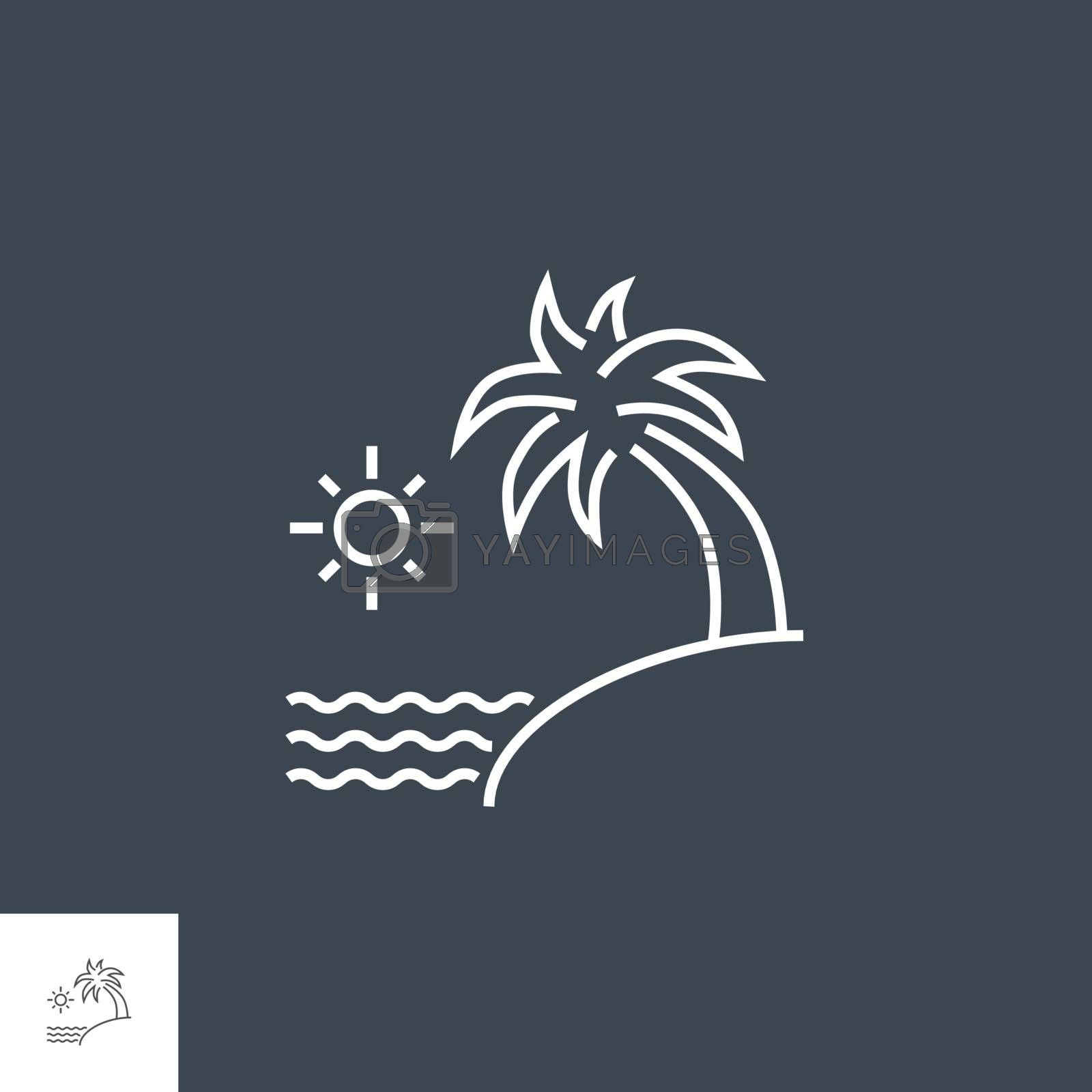 Sea and Palm Icon. Sea and Palm Related Vector Line Icon. Isolated on Black Background. Editable Stroke.