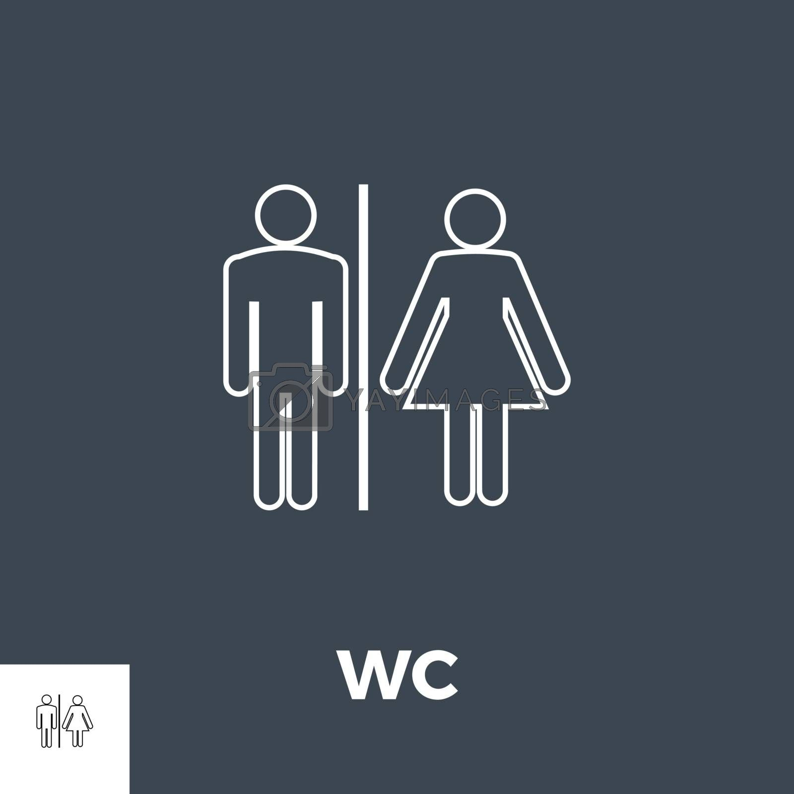 WC Vector Thin Line Icon. Isolated on Black Background. Vector Illustration.