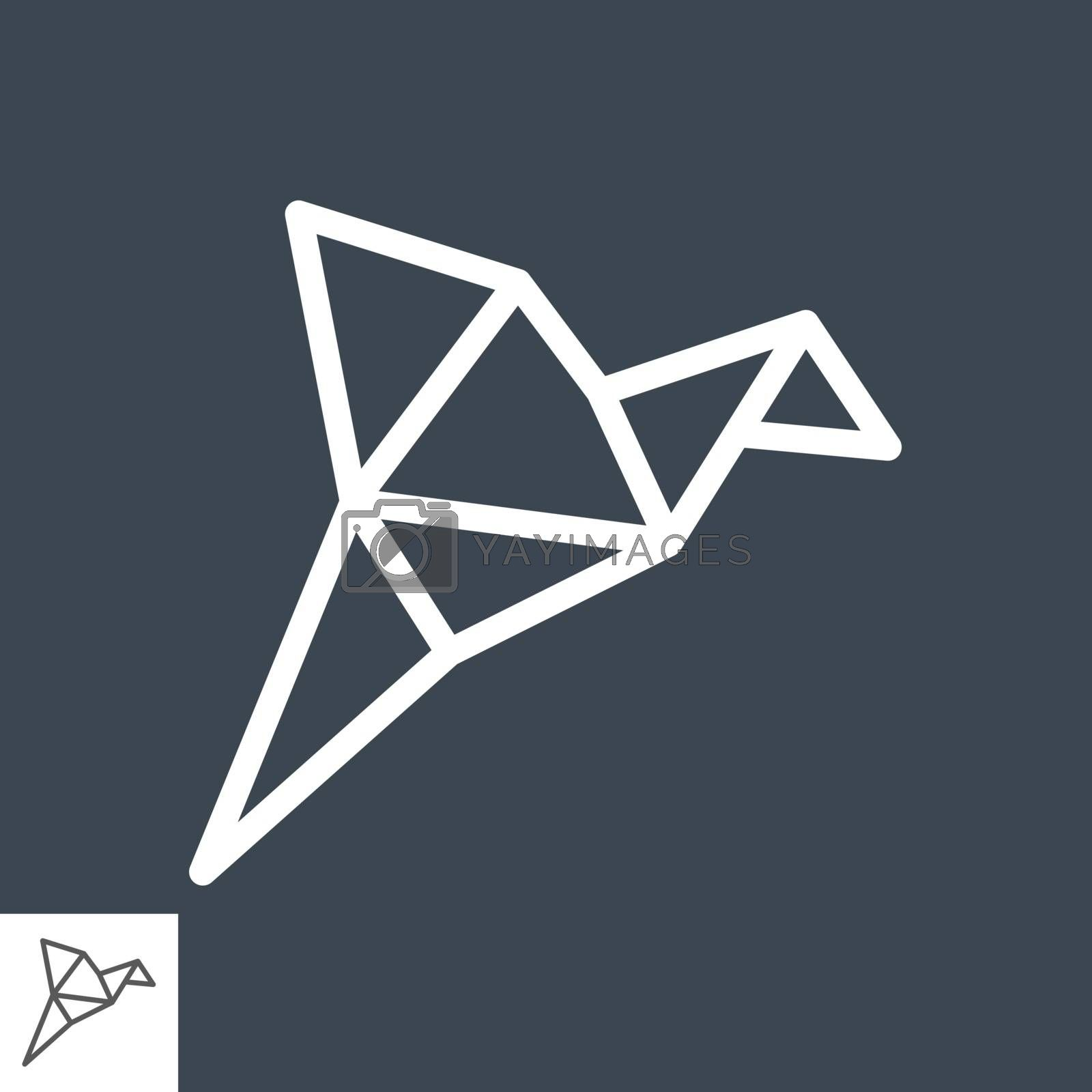 Origami Bird Thin Line Vector Icon. Flat icon isolated on the black background. Editable EPS file. Vector illustration.
