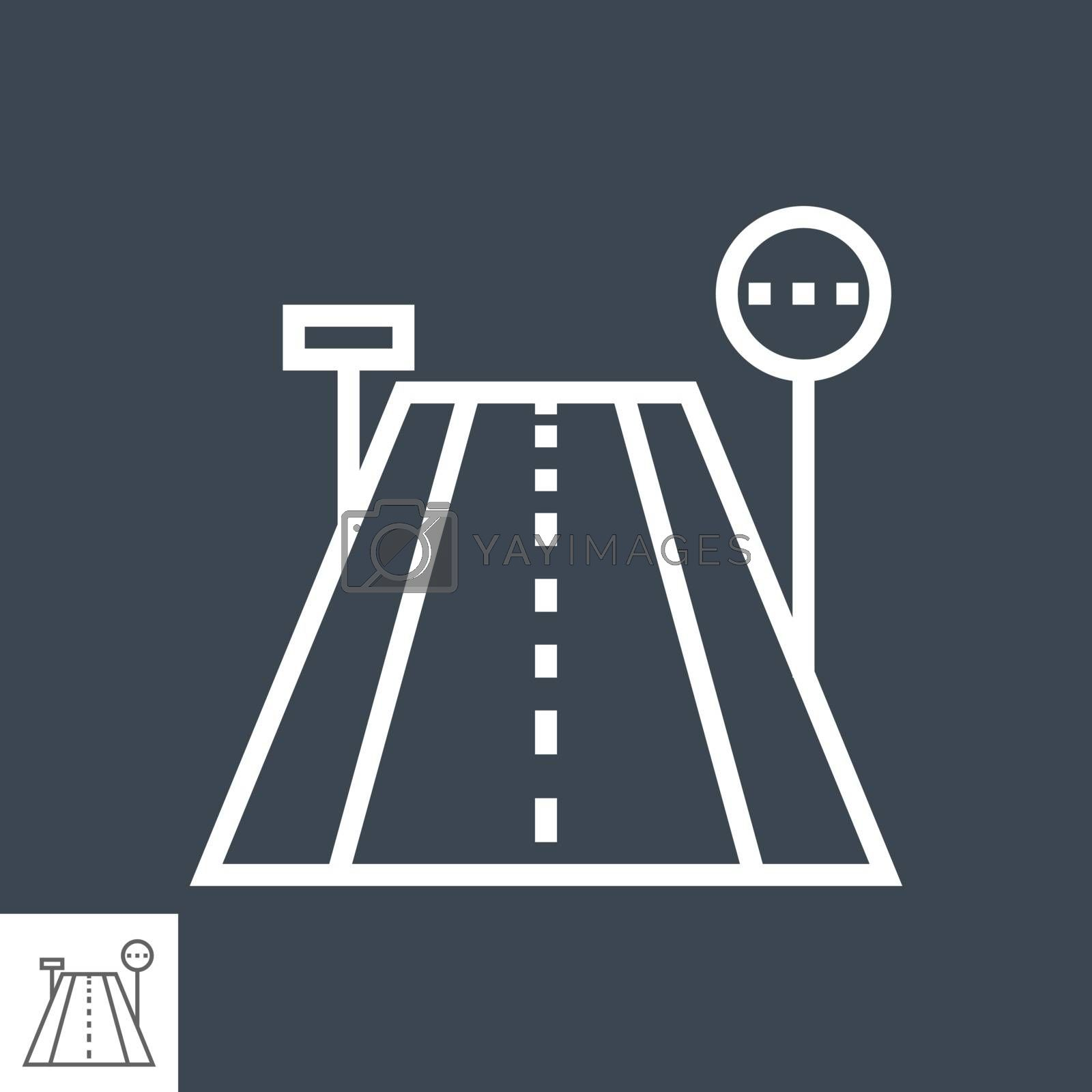 Road Thin Line Vector Icon Isolated on the Black Background.