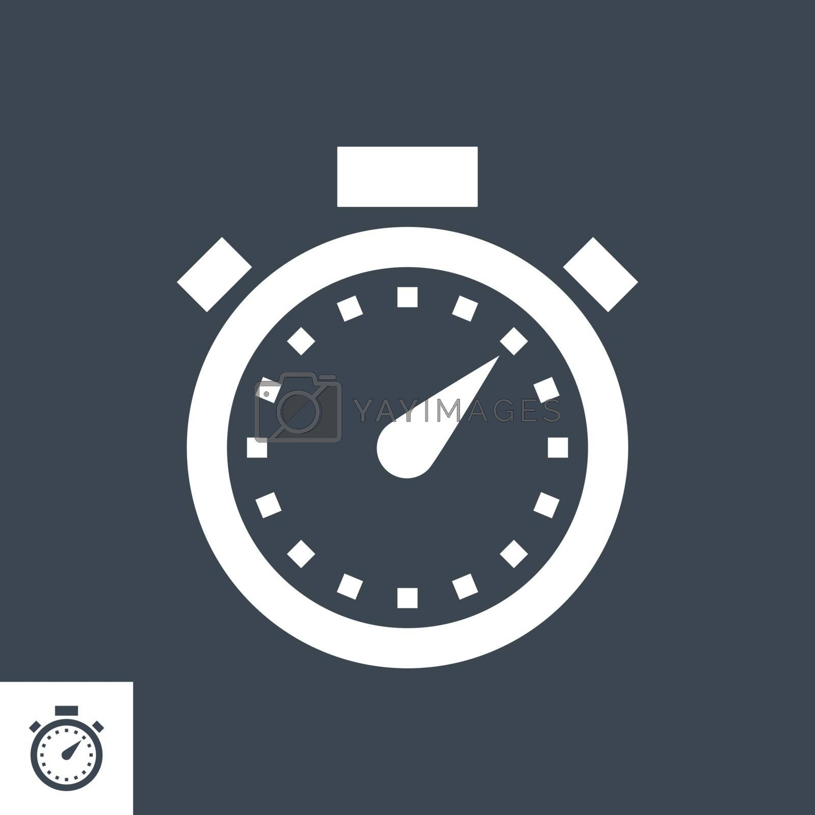 Stopwatch Related Vector Glyph Icon. Isolated on Black Background. Vector Illustration.