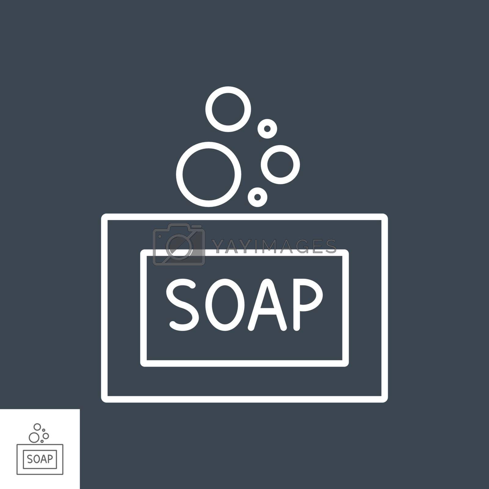 Soap related vector thin line icon. Isolated on black background. Editable stroke. Vector illustration.