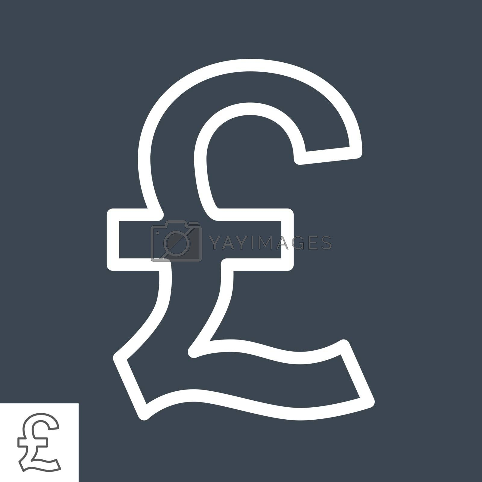 Pound Thin Line Vector Icon. Flat icon isolated on the black background. Editable EPS file. Vector illustration.