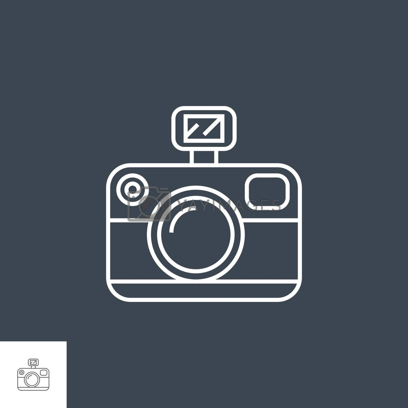Photo Presentation Related Vector Thin Line Icon. Isolated on Black Background. Editable Stroke. Vector Illustration.
