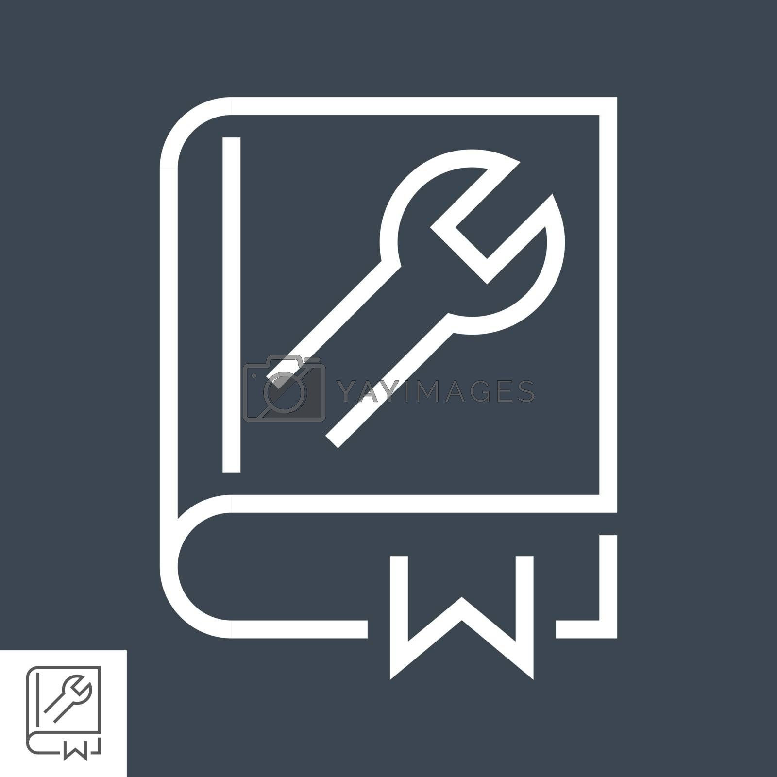 User Guide Book Thin Line Vector Icon. Flat icon isolated on the black background. Editable EPS file. Vector illustration.