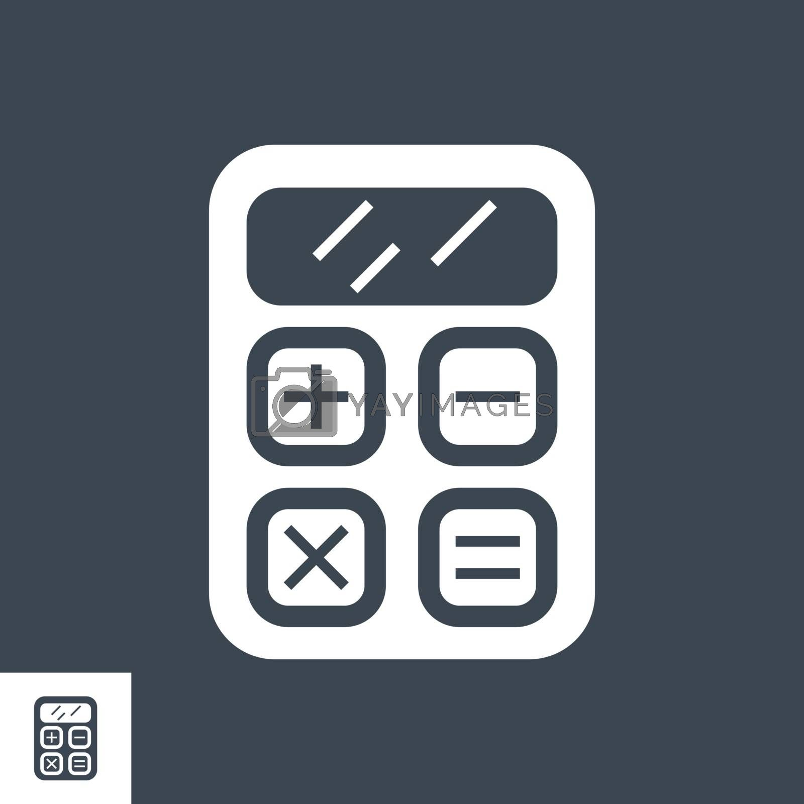 SEO Calculator Related Vector Glyph Icon. Isolated on Black Background. Vector Illustration.
