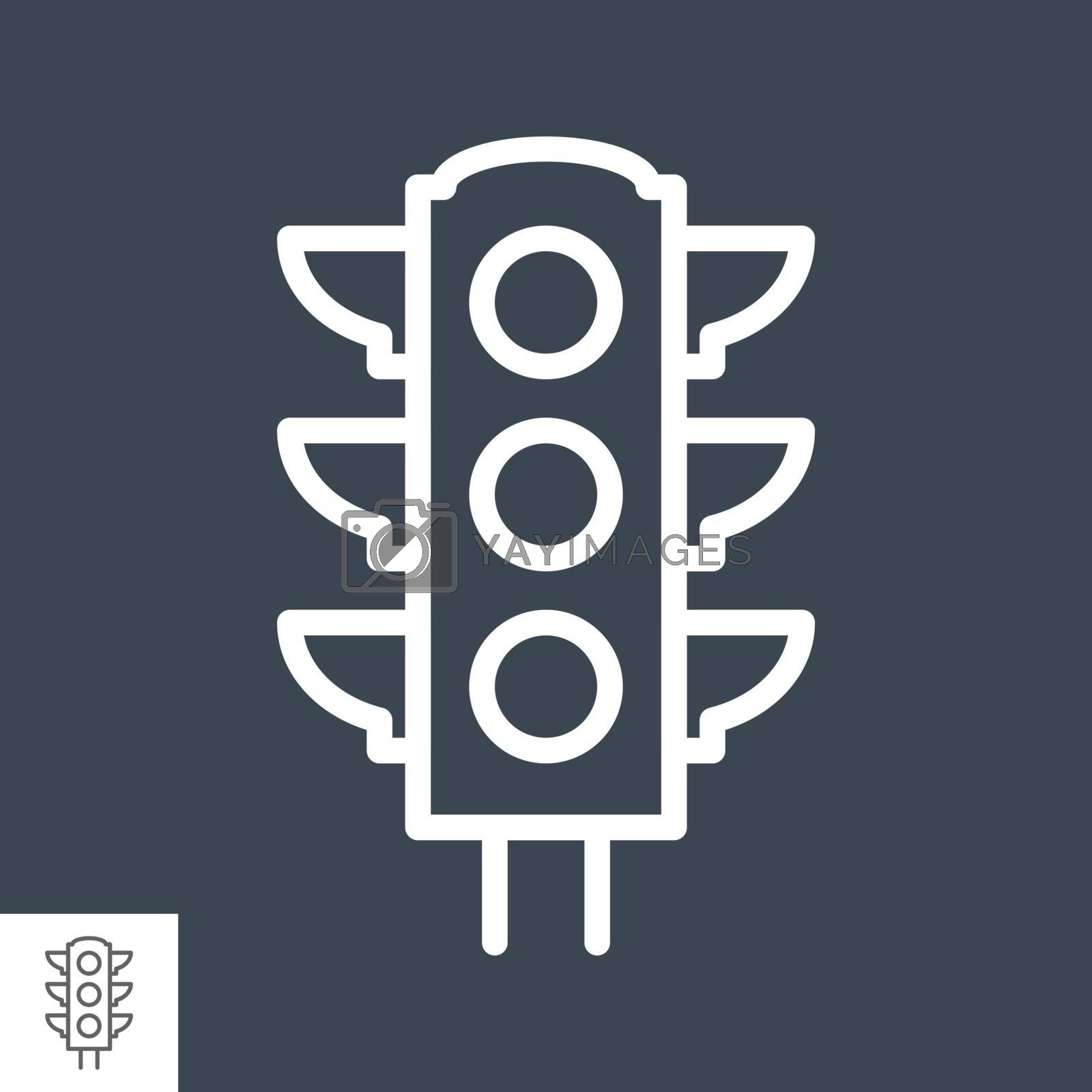 Traffic Light Thin Line Vector Icon Isolated on the Black Background.