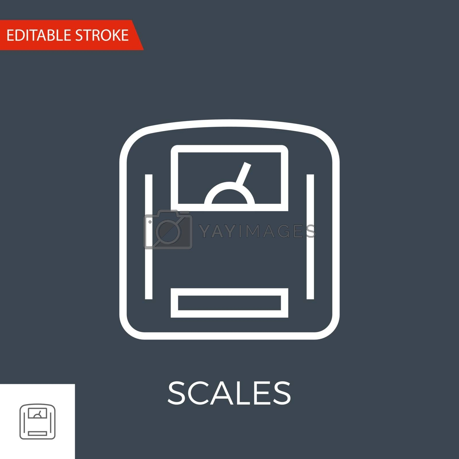 Scales Thin Line Vector Icon. Flat Icon Isolated on the Black Background. Editable Stroke EPS file. Vector illustration.
