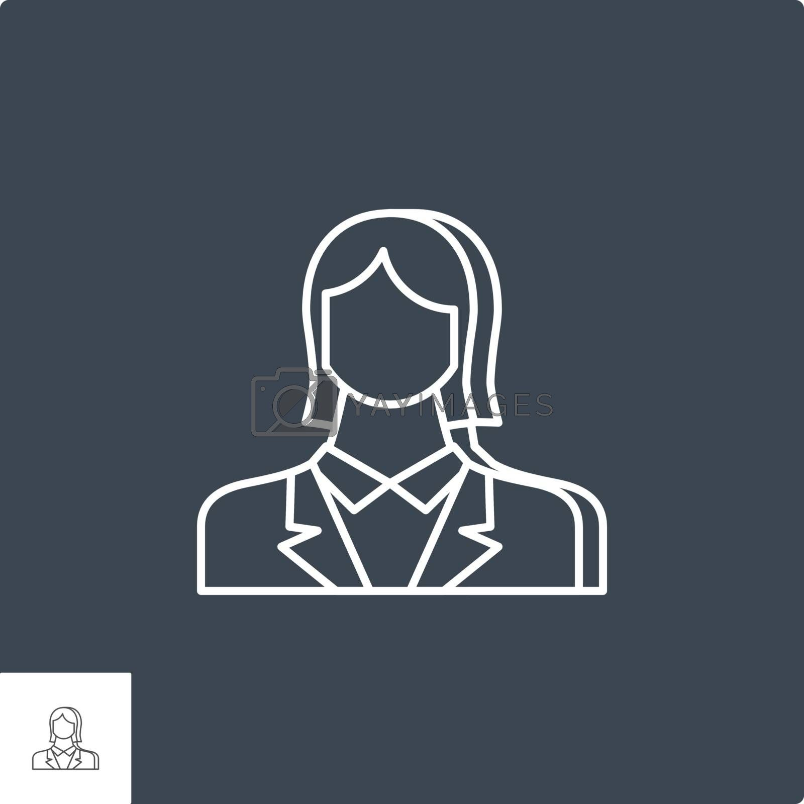 Employee Woman Icon. Employee Woman Related Vector Line Icon. Isolated on Black Background. Editable Stroke.