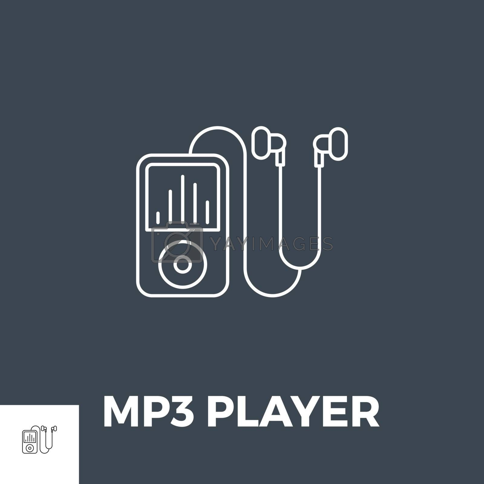 MP3 Player Icon Vector. Icon isolated on the black background. Editable EPS file. Vector illustration.