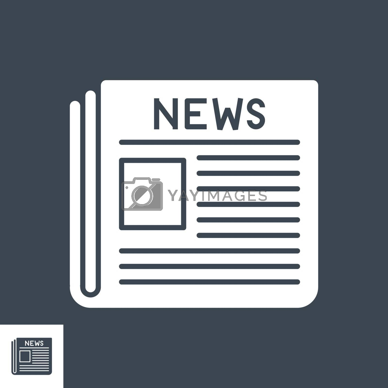 Newspaper Glyph Vector Icon. Flat icon isolated on the black background. Editable EPS file. Vector illustration.