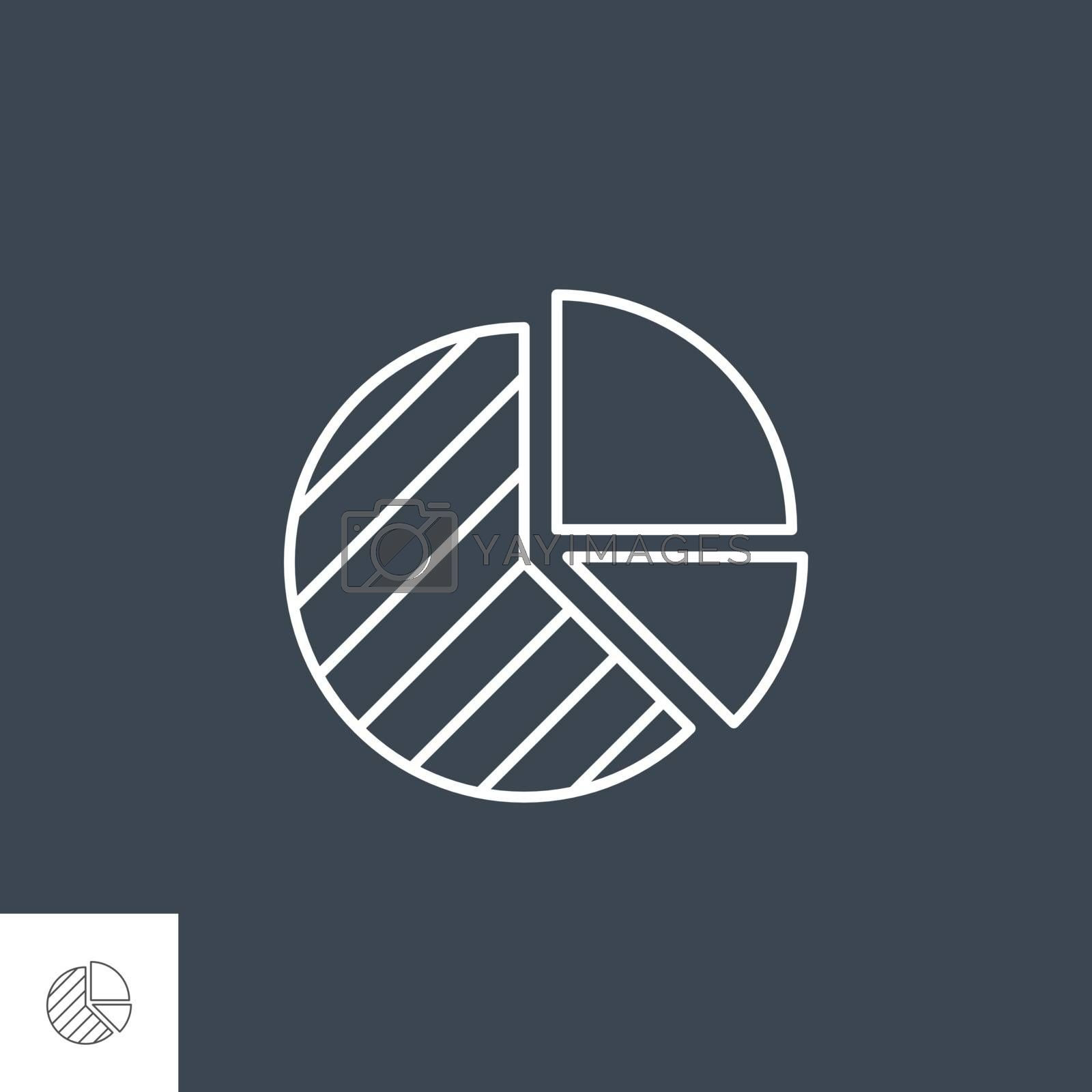 Pie Chart Related Vector Line Icon. Isolated on Black Background. Editable Stroke.